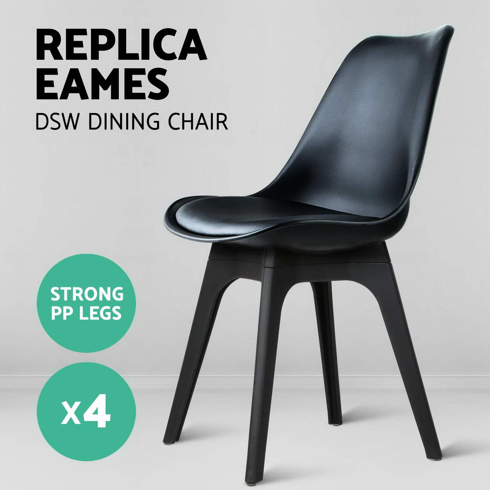 Replica Eames Chair 4 x retro replica eames dsw dining chair daw armchair foam padded