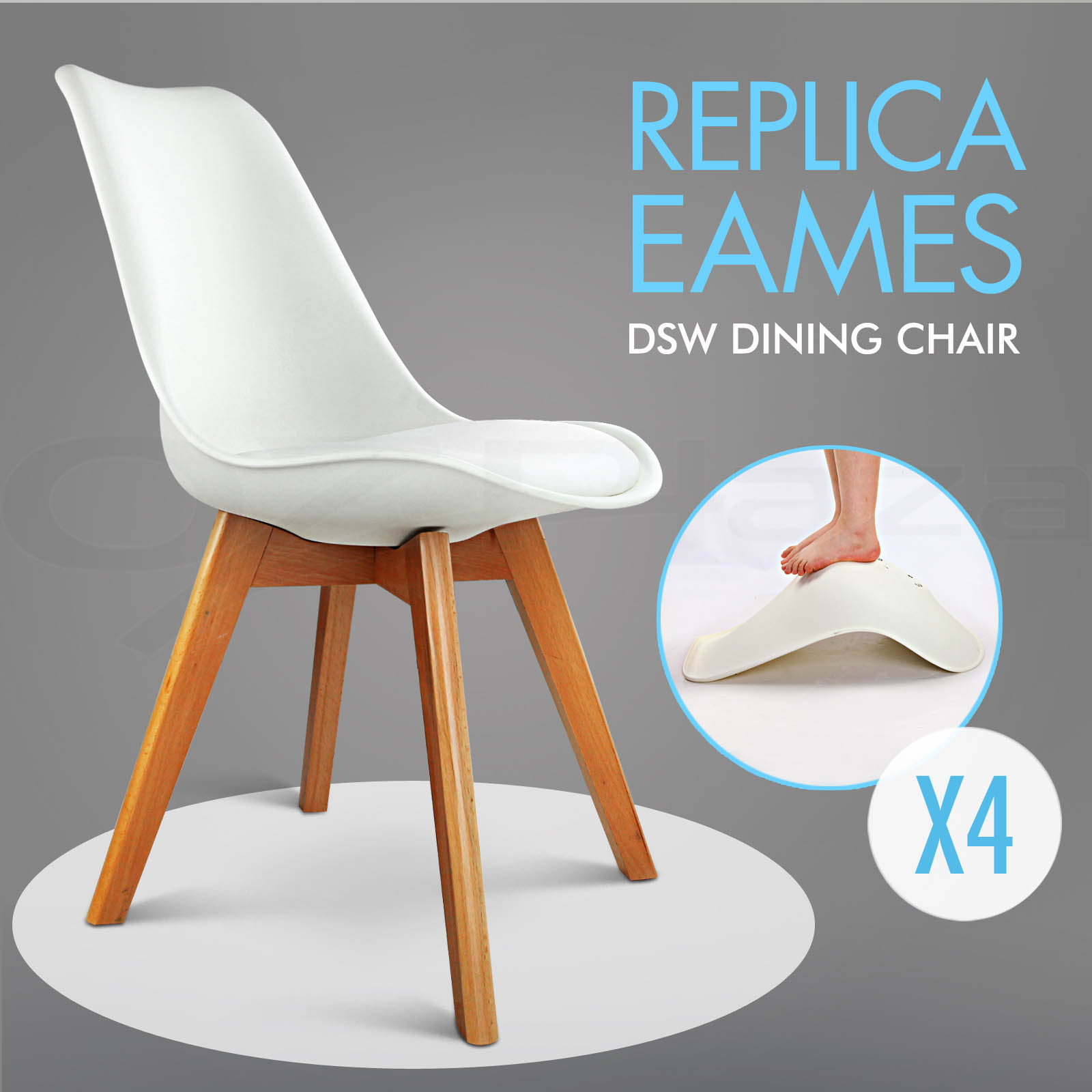 4 x retro replica eames dsw dining chair daw armchair foam for Reproduction eames dsw