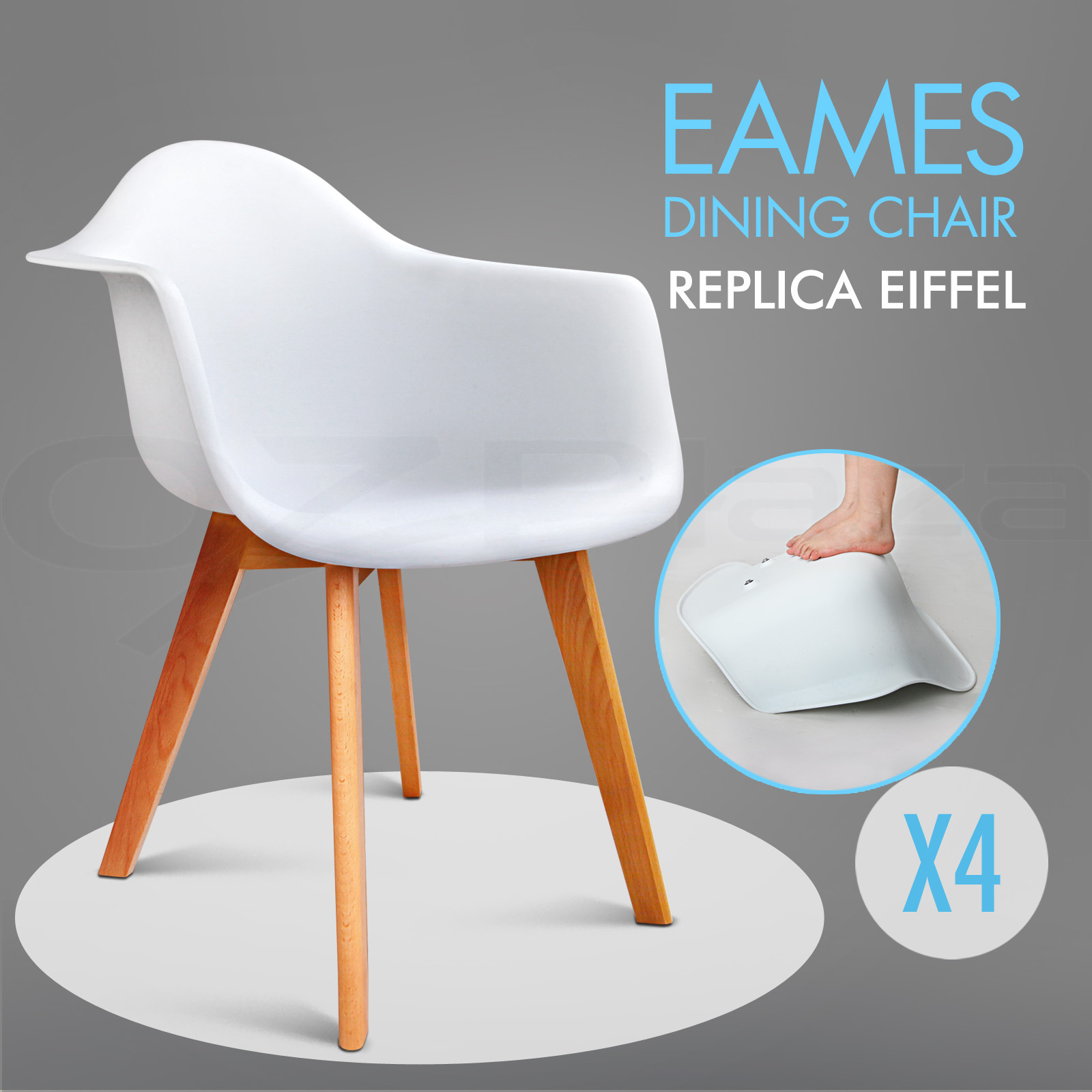 4 x retro replica eames dsw dining chair daw armchair foam for Eames plastic armchair daw replica