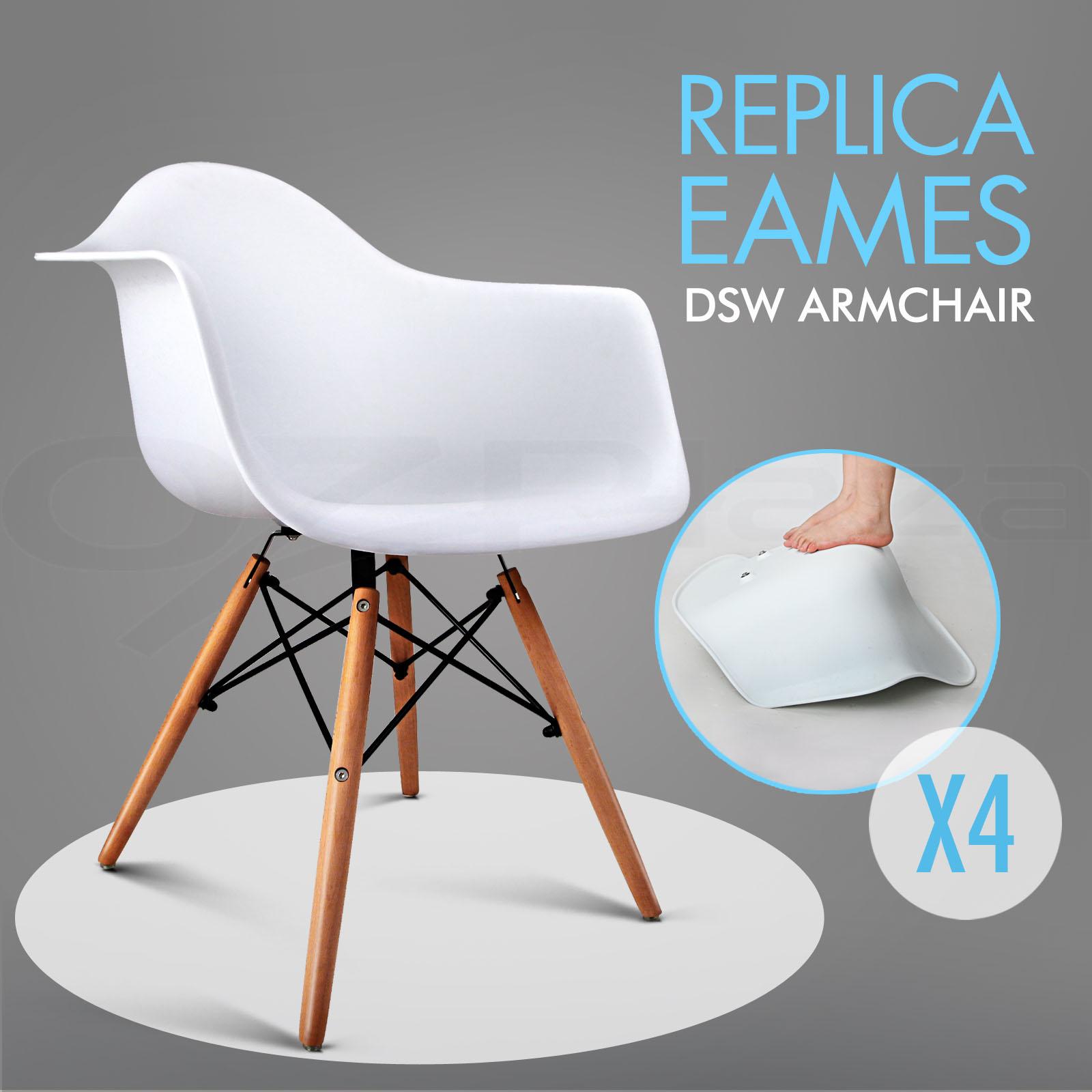 4 X Retro Replica Eames Dsw Dining Chair Daw Armchair Foam