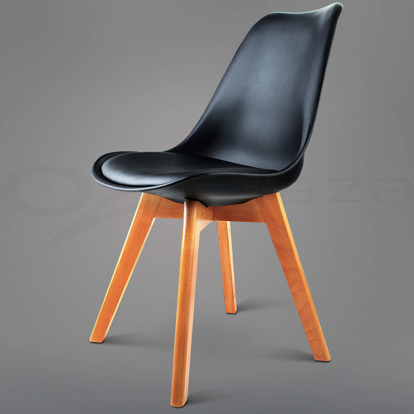 4 x padded retro replica eames eiffel dsw dining chairs cafe kitchen black - Eames eiffel chair reproduction ...