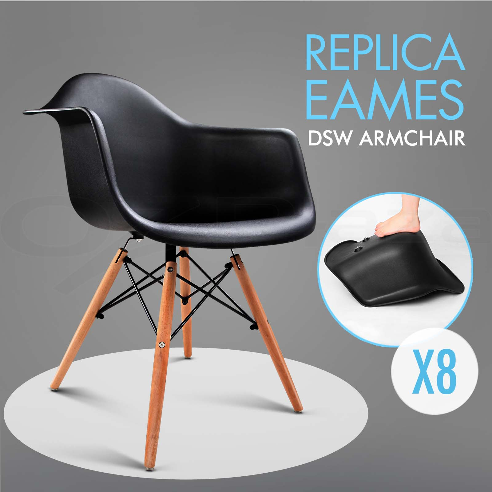 8 x retro replica eames dsw dining chair daw armchair padded fabric abs ebay. Black Bedroom Furniture Sets. Home Design Ideas
