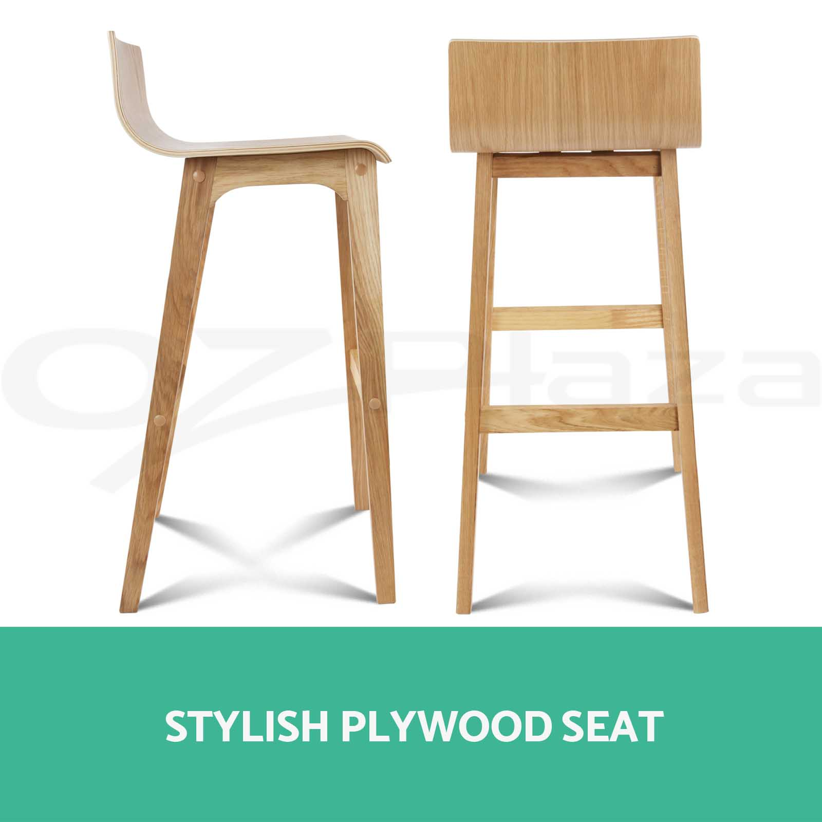 Marvelous photograph of 2x Oak Wood Bar Stool Wooden Dining Chair Kitchen Side Plywood Natural  with #33987C color and 1600x1600 pixels
