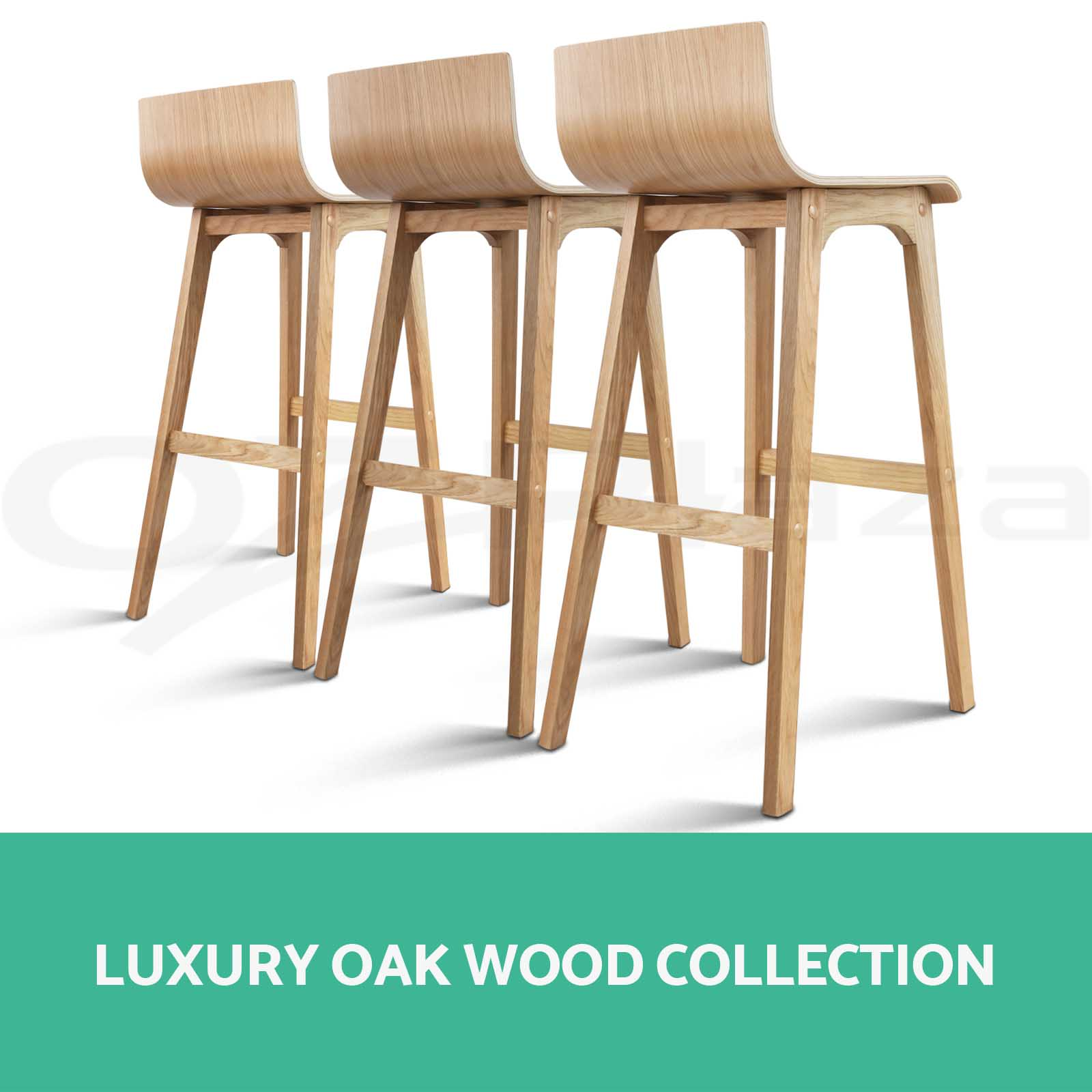 4x Oak Wood Bar Stools Wooden Barstool Dining Chairs