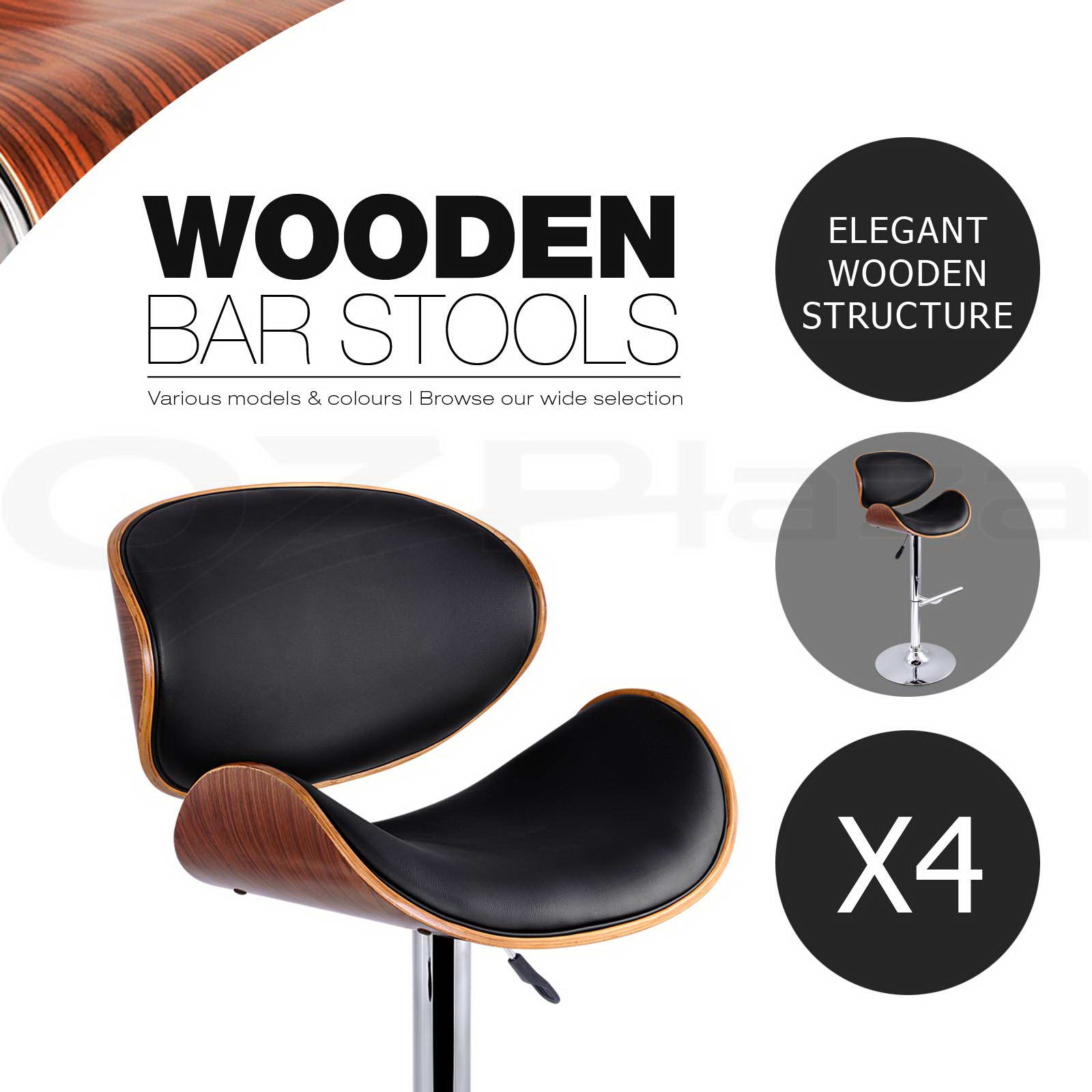 4 X Wooden Bar Stool Barstool Kitchen Dining Chair Black