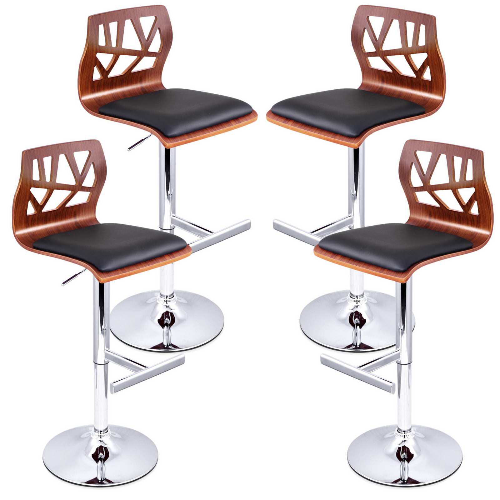 details about 4x wooden bar stool kitchen dining chair gas lift swivel