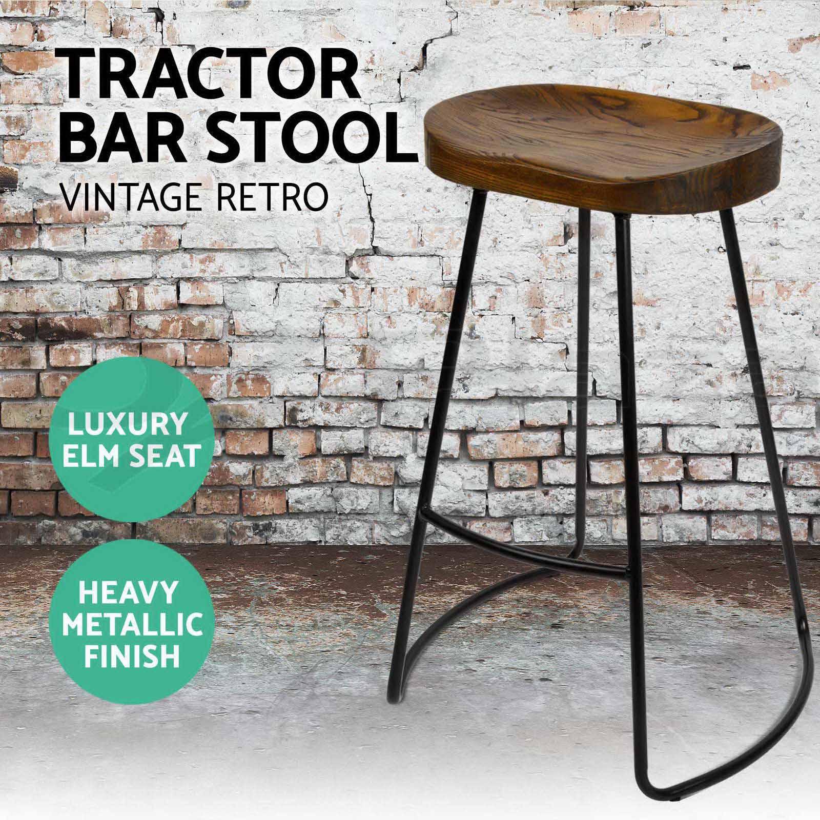 4x Industrial Retro Bar Stool Barstool Dining Chair Wooden
