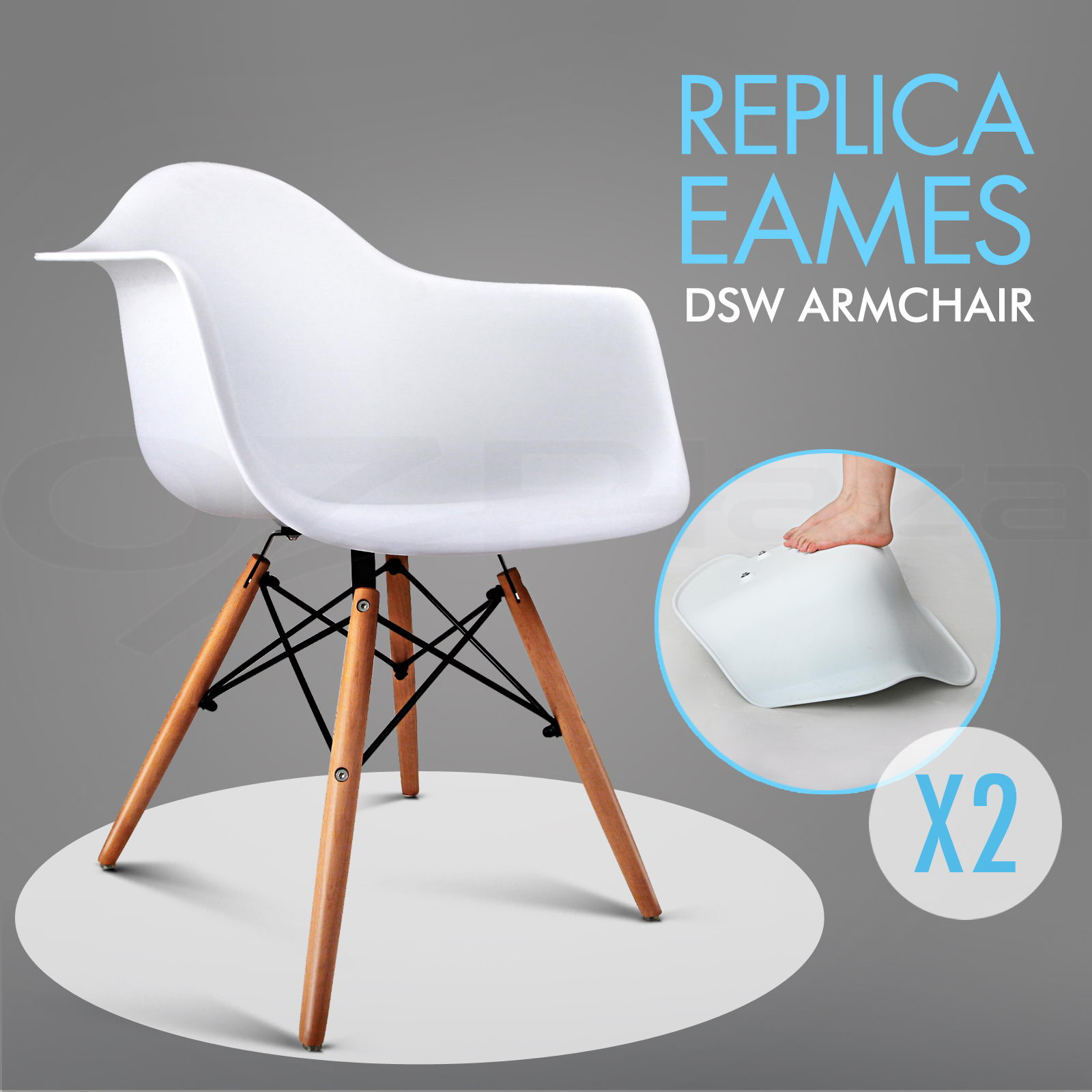 2 x retro replica eames dining chair daw office cafe side armchair beech white ebay. Black Bedroom Furniture Sets. Home Design Ideas