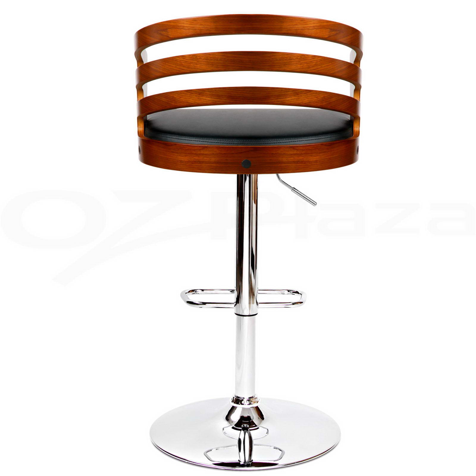 4x wooden bar stool kitchen chair dining black white pu
