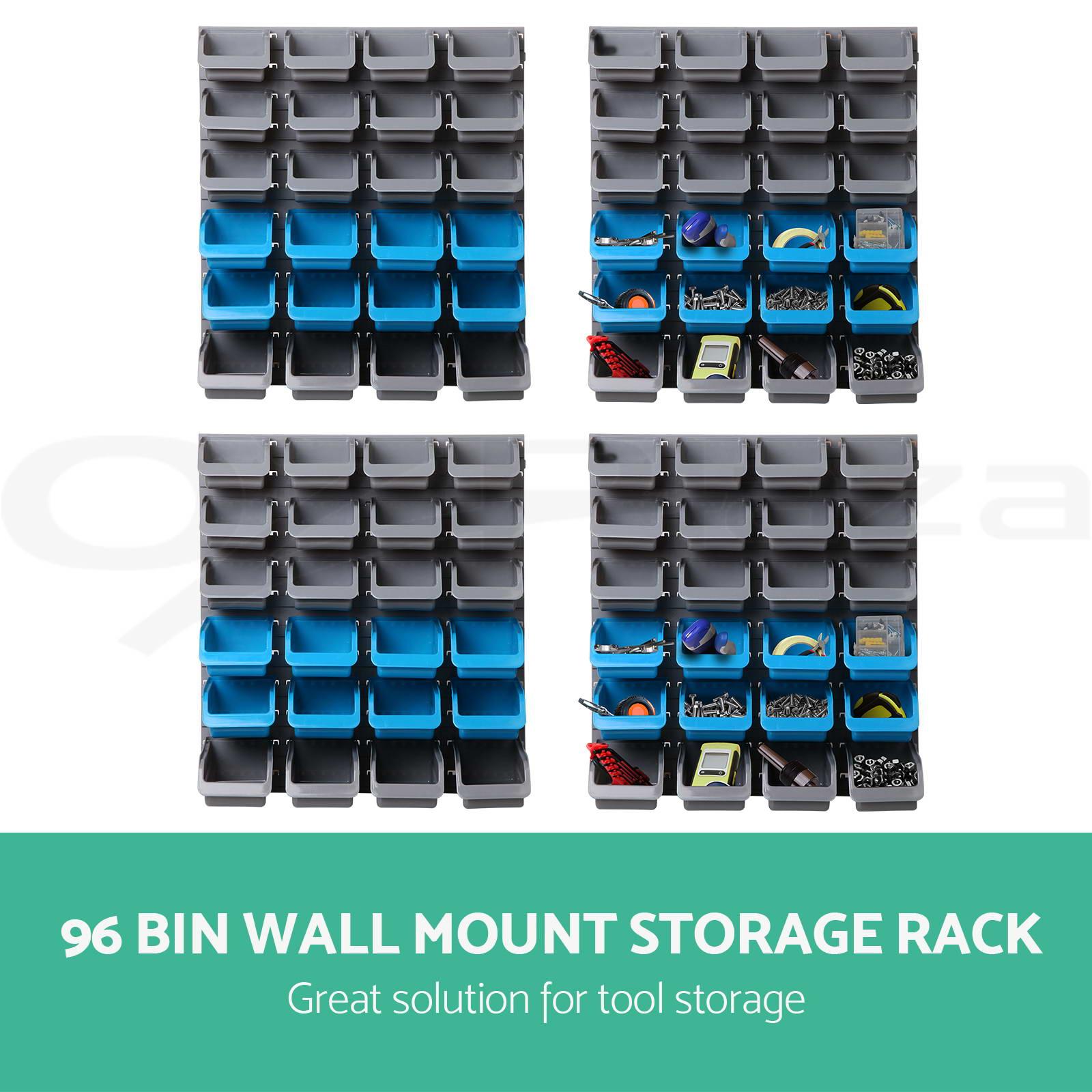 new 96 storage bin rack wall mounted tool parts garage unit shelving organiser ebay. Black Bedroom Furniture Sets. Home Design Ideas