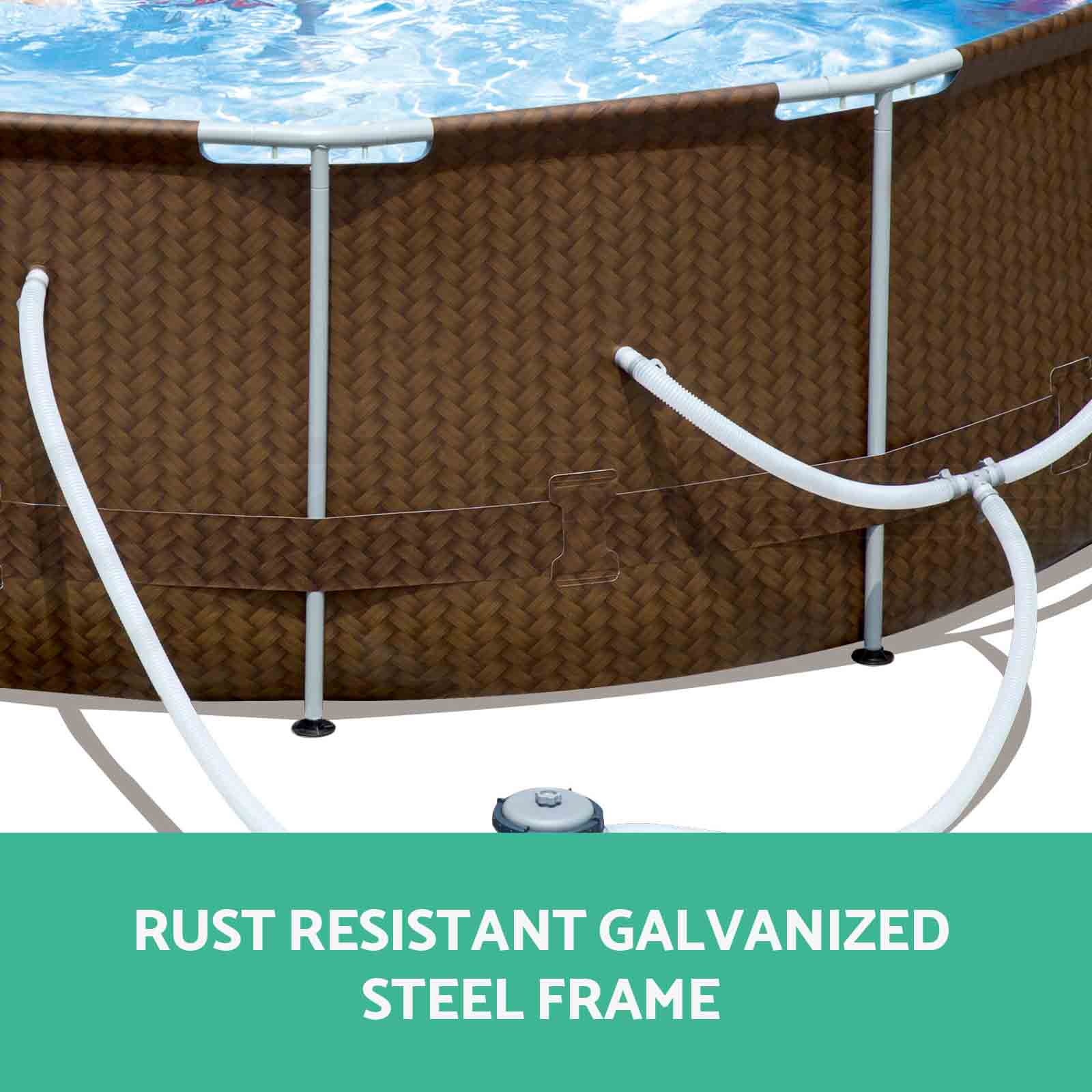 New bestway swimming pool steel pro rattan frame - Bestway steel frame swimming pool ...