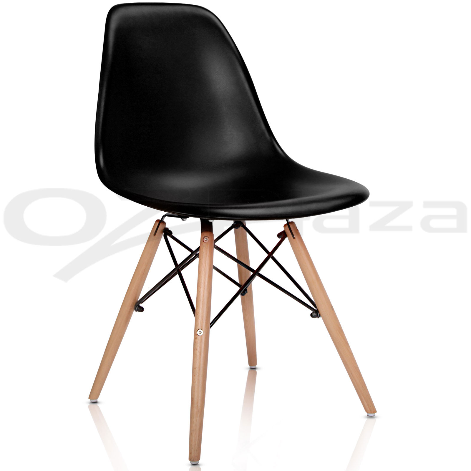 1x wooden dining table 4x eames replica dsw retro dining chairs bk 3