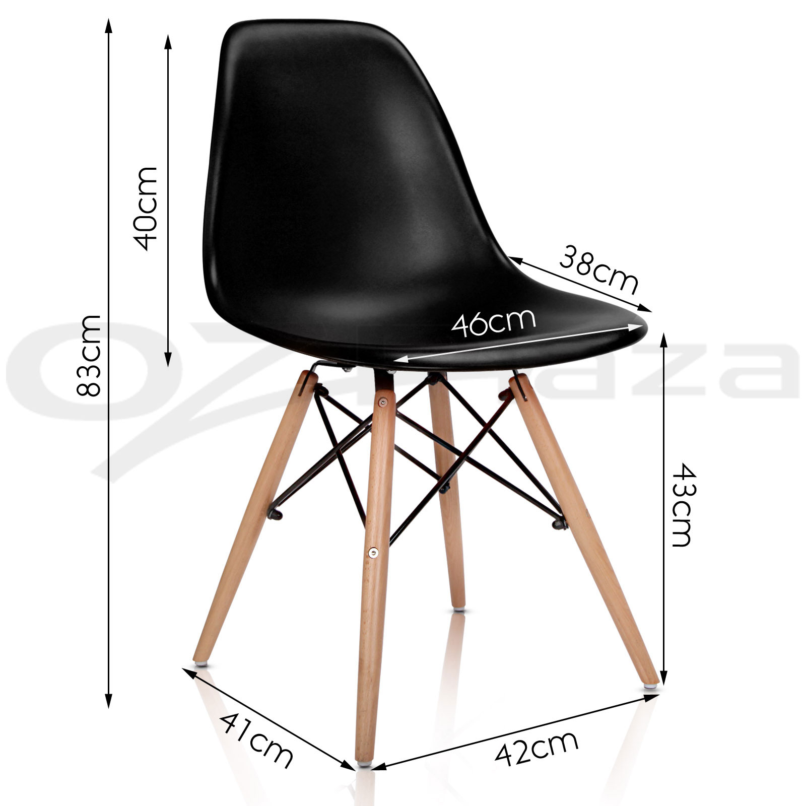 Set of 1x wooden dining table 4x eames replica dsw retro for Eames stuhl replica deutschland