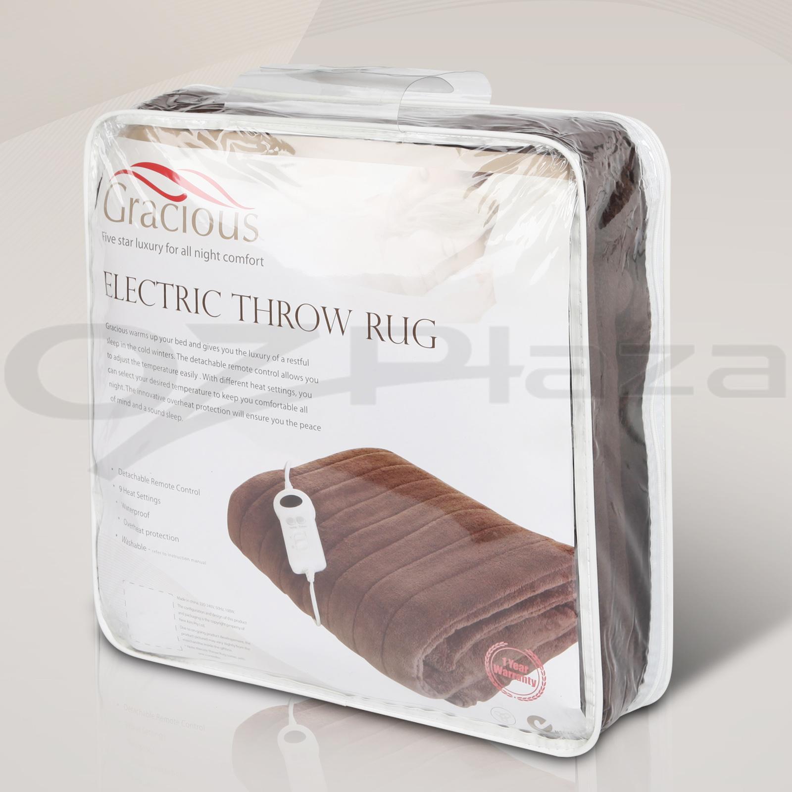 Electric Throw Blanket Heated Snuggle Rug 9 Settings