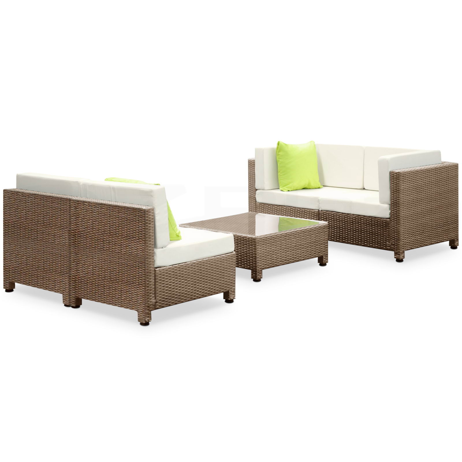 free shipping 5pcs outdoor furniture brown pe wicker garden set lounge be ebay. Black Bedroom Furniture Sets. Home Design Ideas