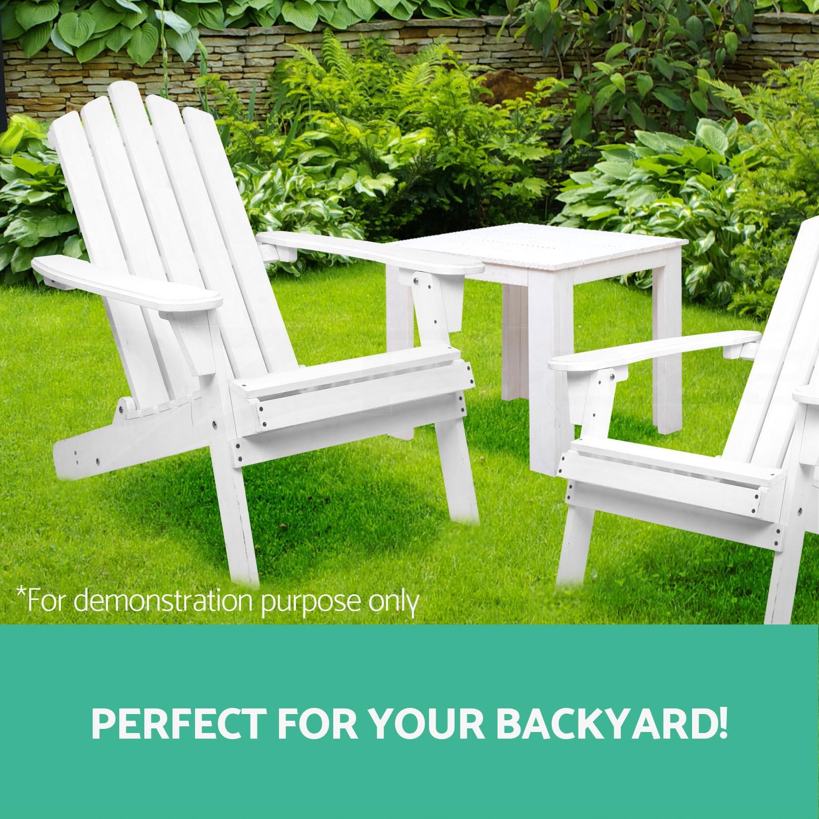 Adirondack Chair Outdoor Furniture Set Garden Beach Wooden Lounge Deck White Ebay