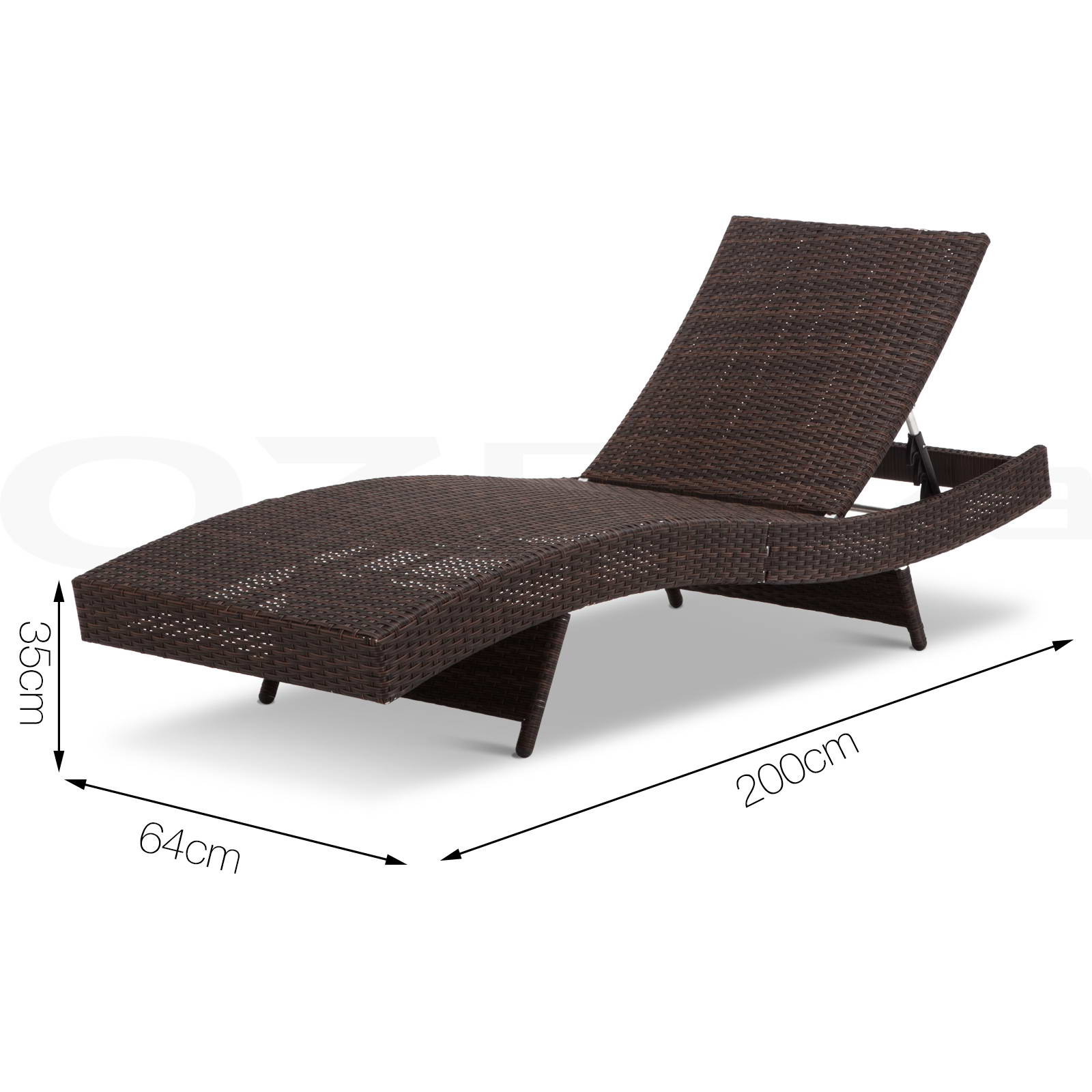 outdoor sun lounge wicker rattan chair pool bed garden furniture sofa brown aud. Black Bedroom Furniture Sets. Home Design Ideas