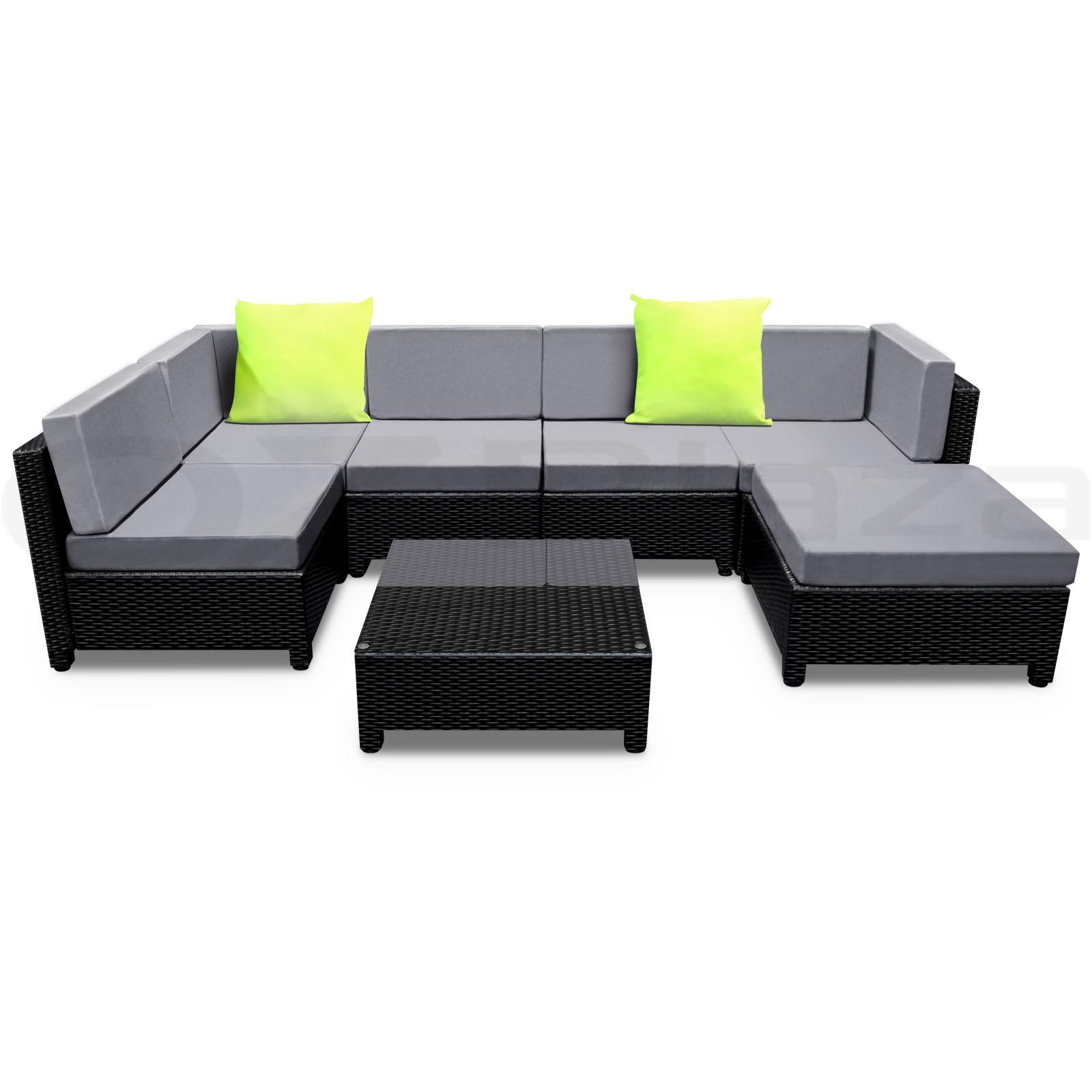 Outdoor Furniture Wicker 7pc PE Rattan SET Garden Lounge ...