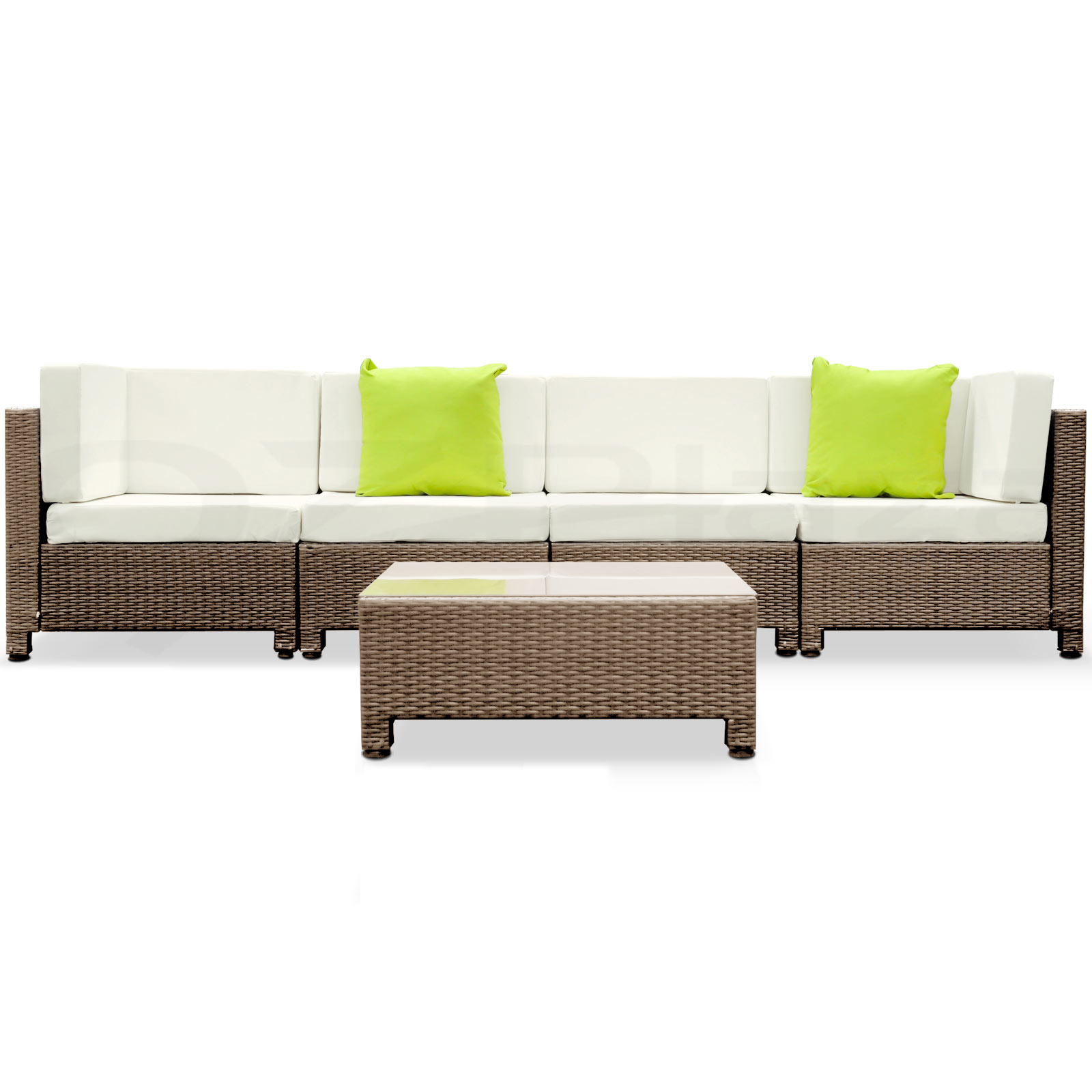 brown outdoor furniture wicker 5pc pe rattan set garden lounge sofa setting be ebay. Black Bedroom Furniture Sets. Home Design Ideas