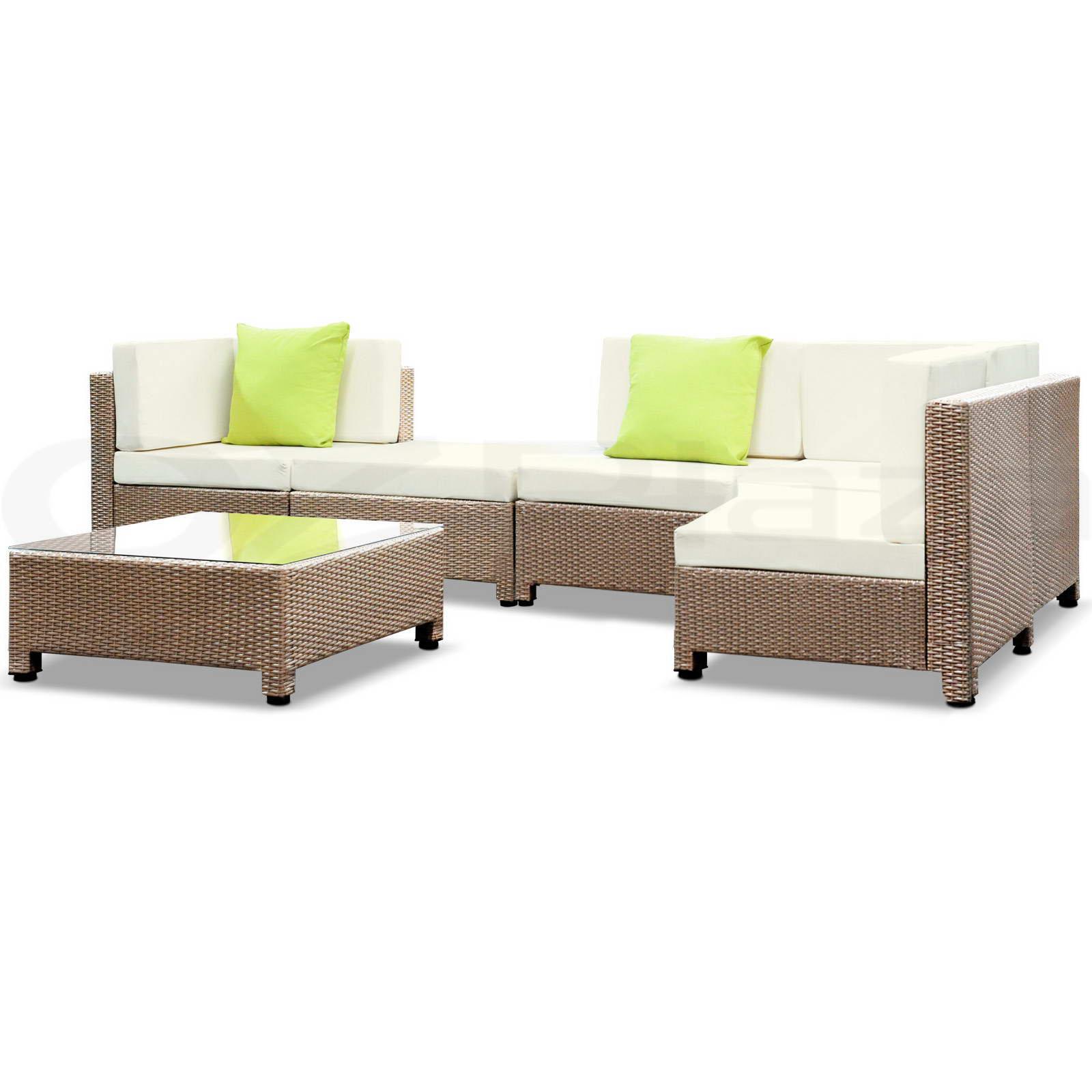 Brown Outdoor Furniture Wicker 6pc PE Rattan SET Garden ...