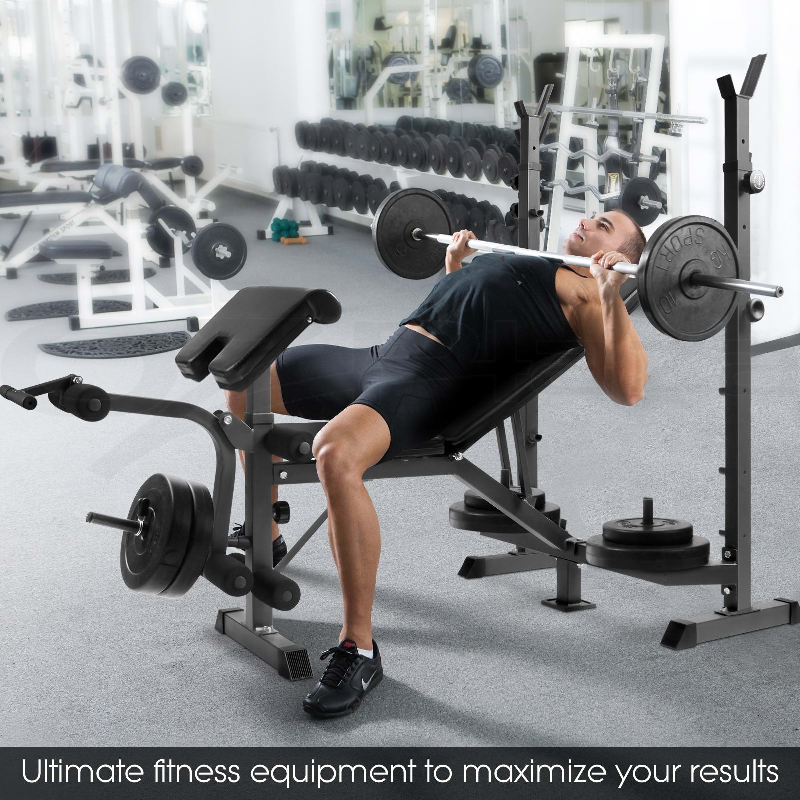 Bench Press Person: Multi-Station Weight Bench Gym Station Plates Press