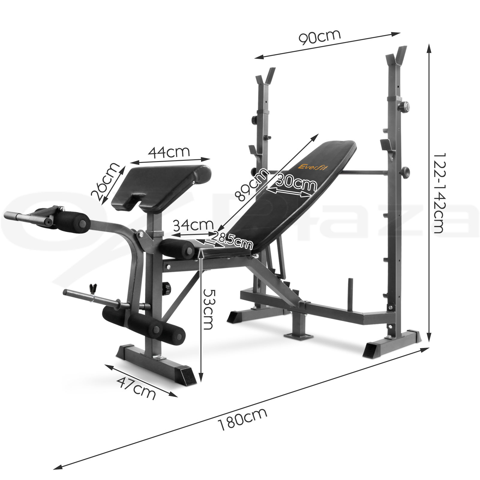 Multi Station Weight Bench Gym Station Plates Press Fitness Flat Barbell Ebay
