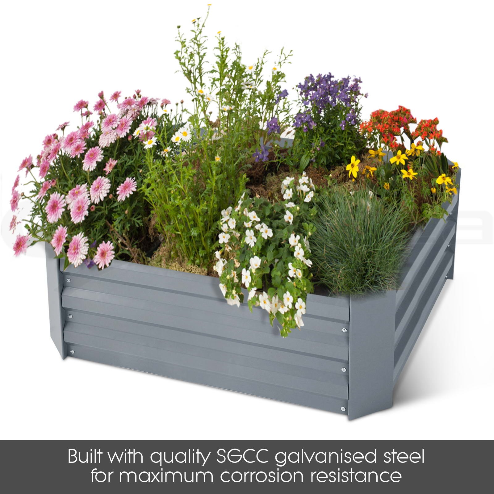 Rectangle Raised Flower Box Planter Bed 2 Tier Soil Pots: Galvanised Steel Raised Garden Bed Instant Planter Square