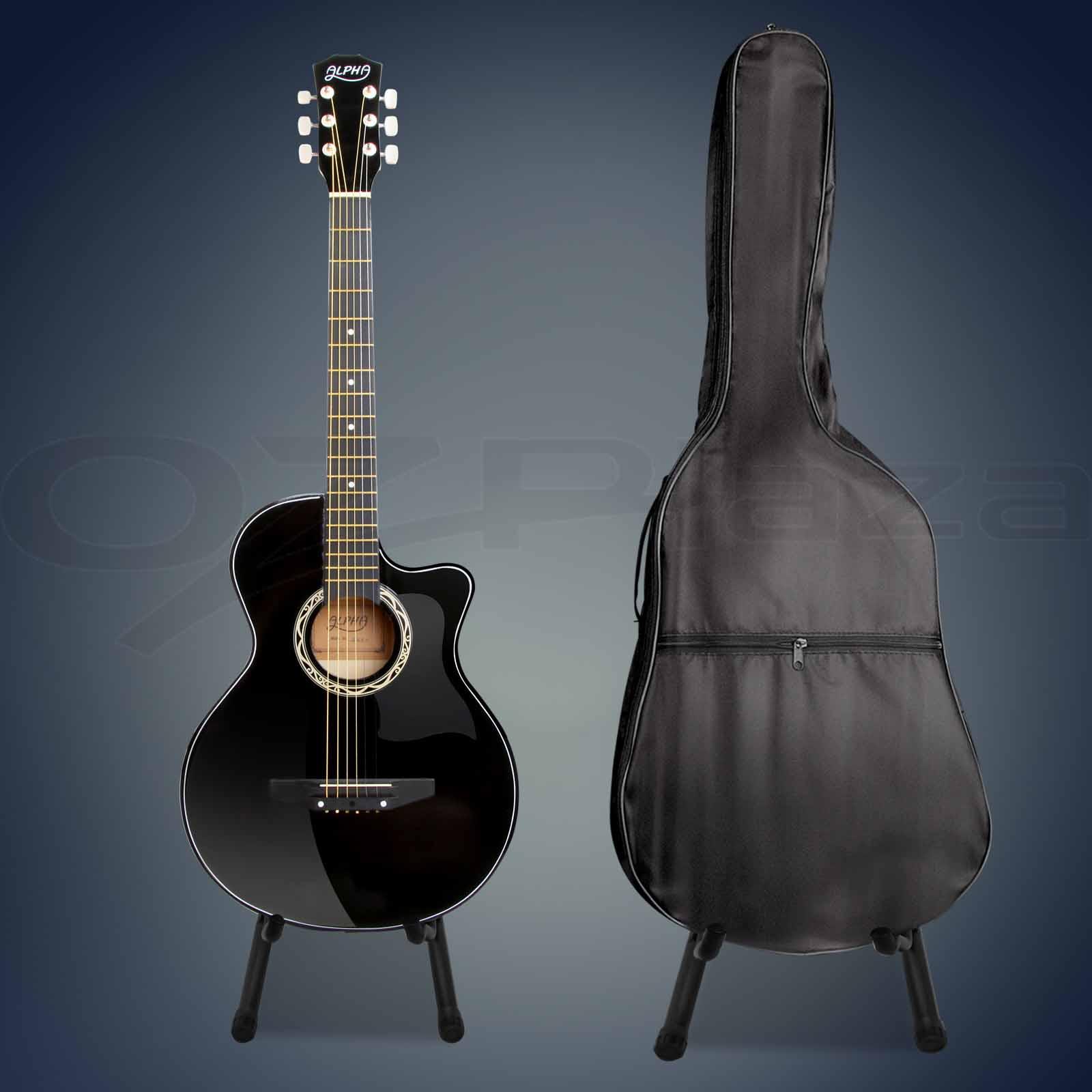38 inch wooden folk acoustic guitar classical string capo bag stand tuner black ebay. Black Bedroom Furniture Sets. Home Design Ideas