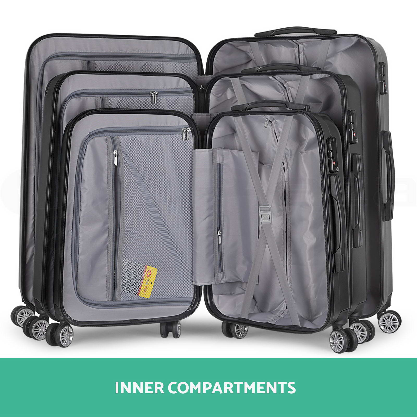 3pc Luggage Suitcase Trolley Set TSA Travel Carry On Bag Hard Case Lightweight 4