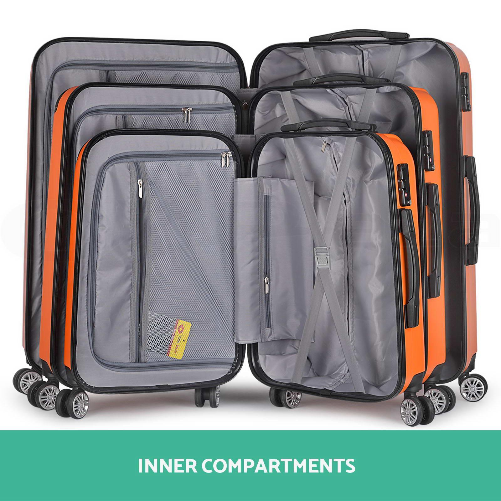 3pc luggage suitcase trolley set tsa travel carry on bag. Black Bedroom Furniture Sets. Home Design Ideas