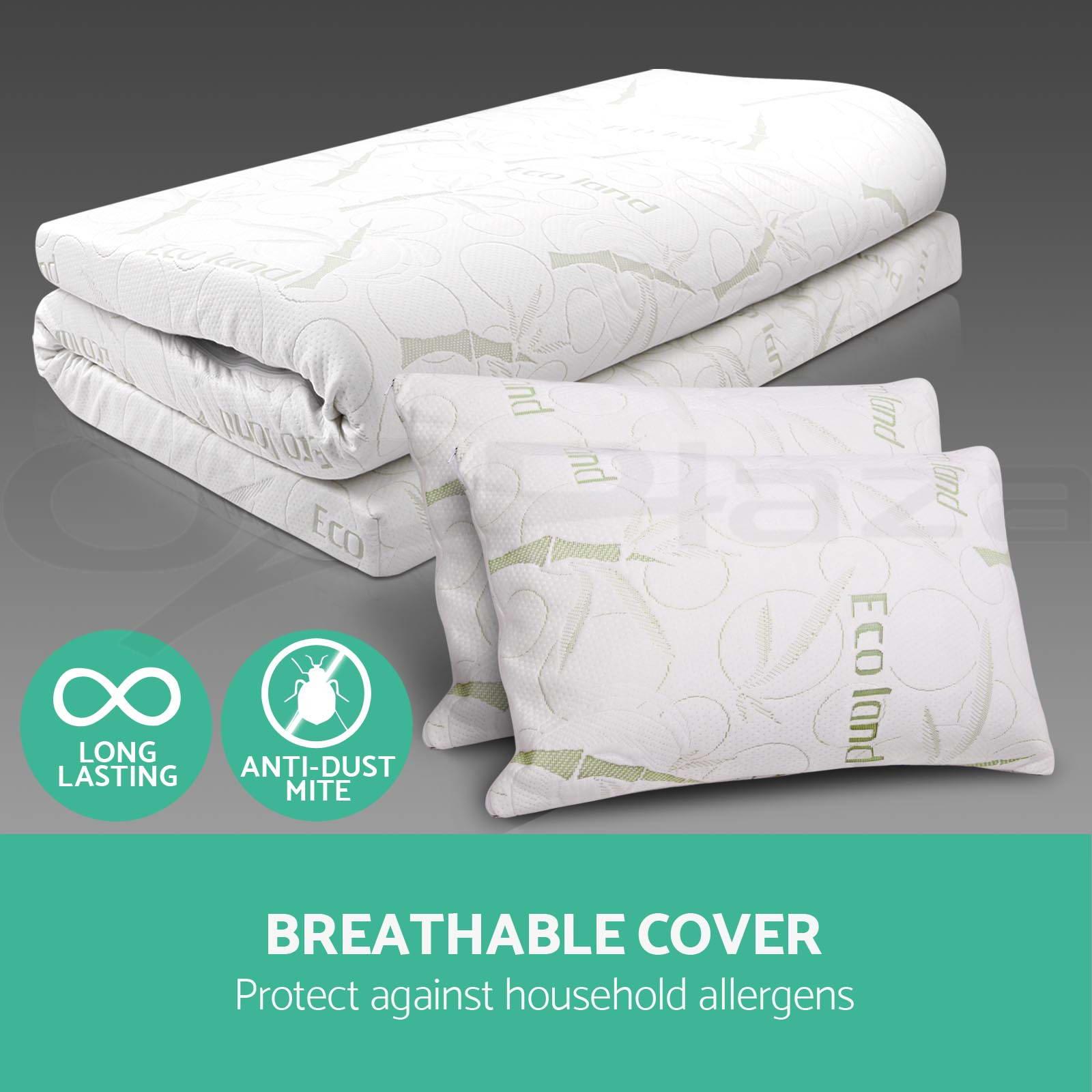 BAMBOO FABRIC Cover Memory Foam Mattress Topper Pillow