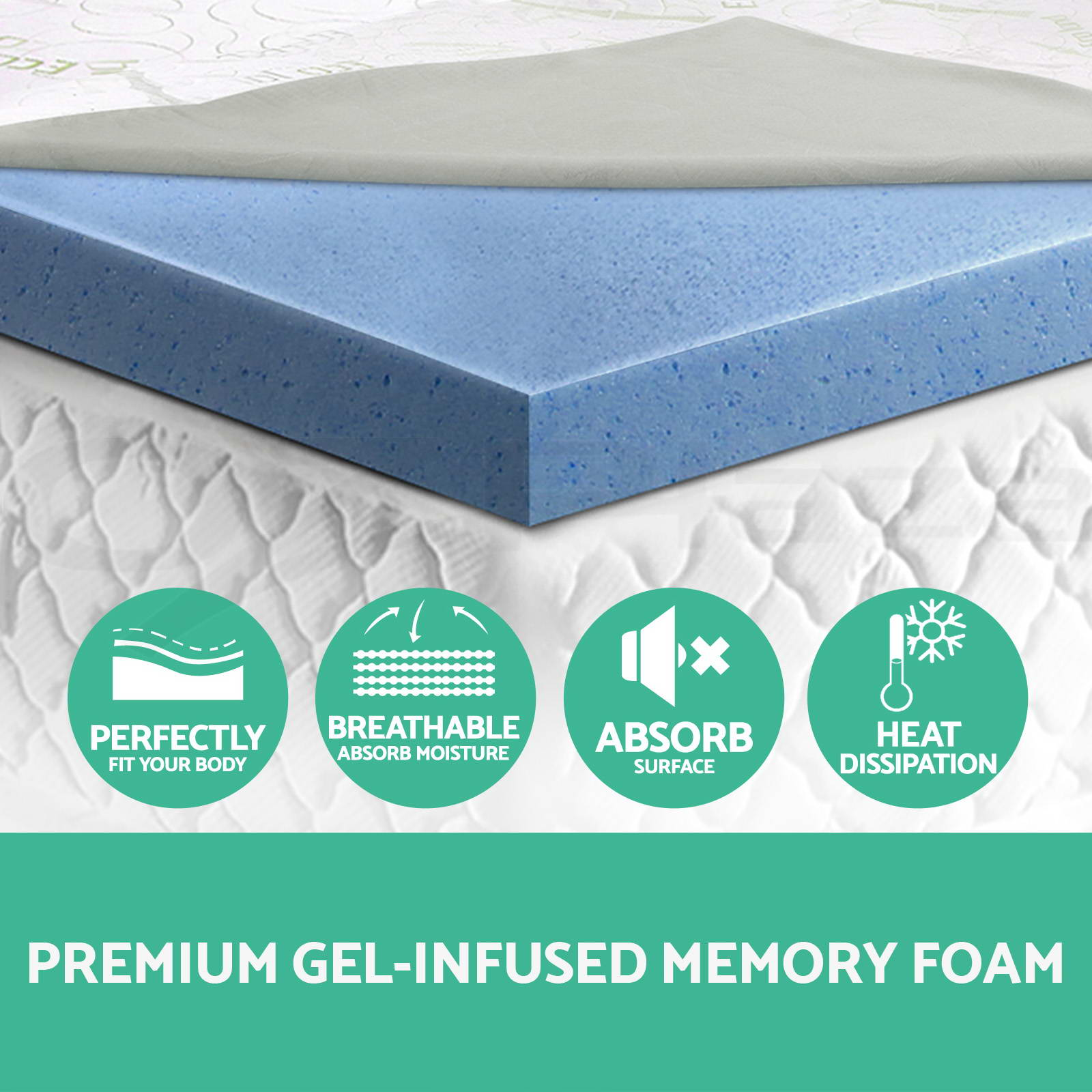 COOL GEL Memory Foam Mattress Topper BAMBOO Fabric Cover