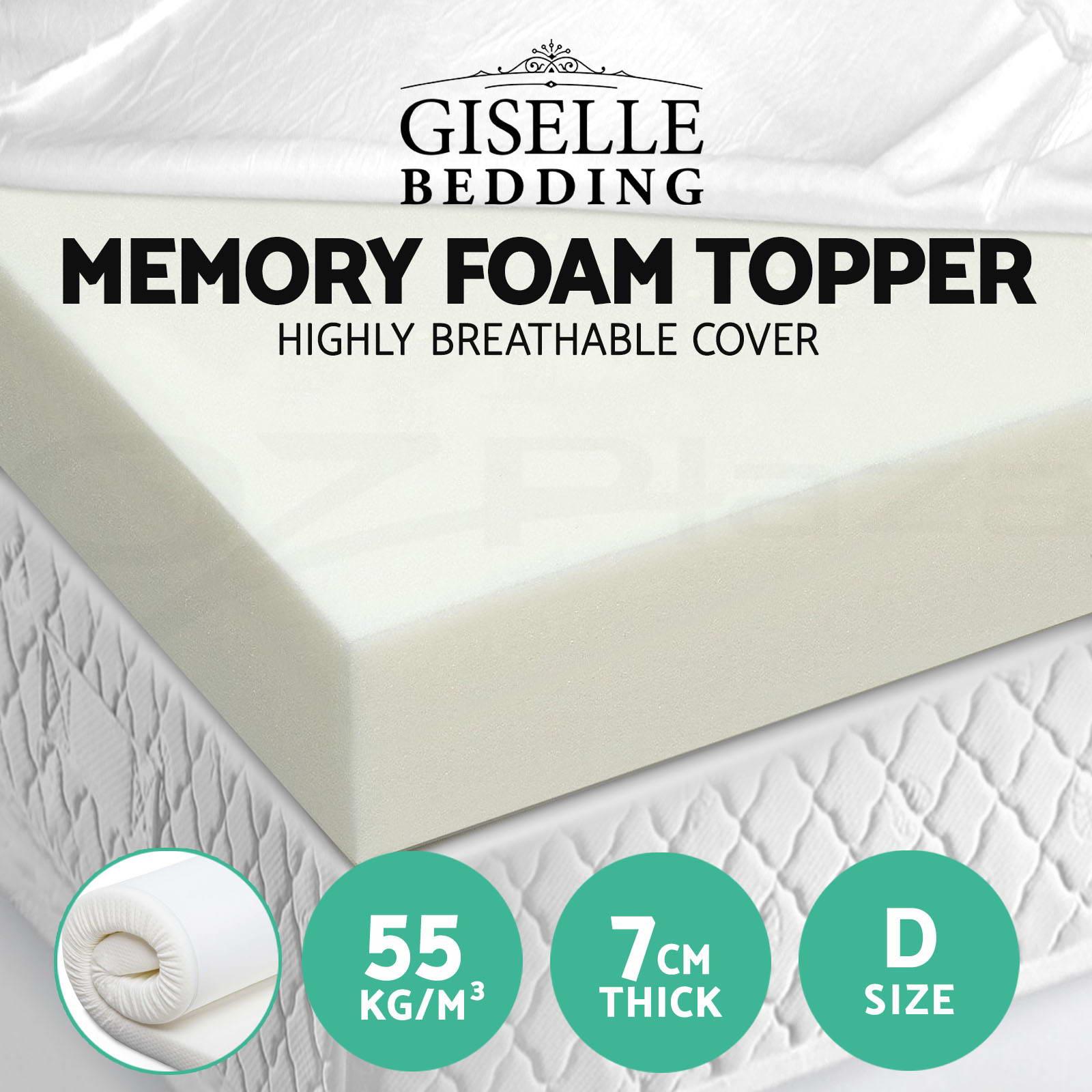Memory Foam Mattress Topper Double Size 7cm Visco Elastic Underlay Cover Bed Mat Ebay
