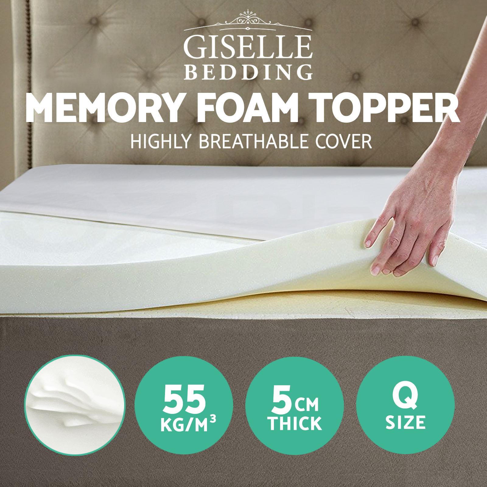 Image is loading Memory-Foam-Mattress-Topper-QUEEN-SIZE-5CM-Visco-
