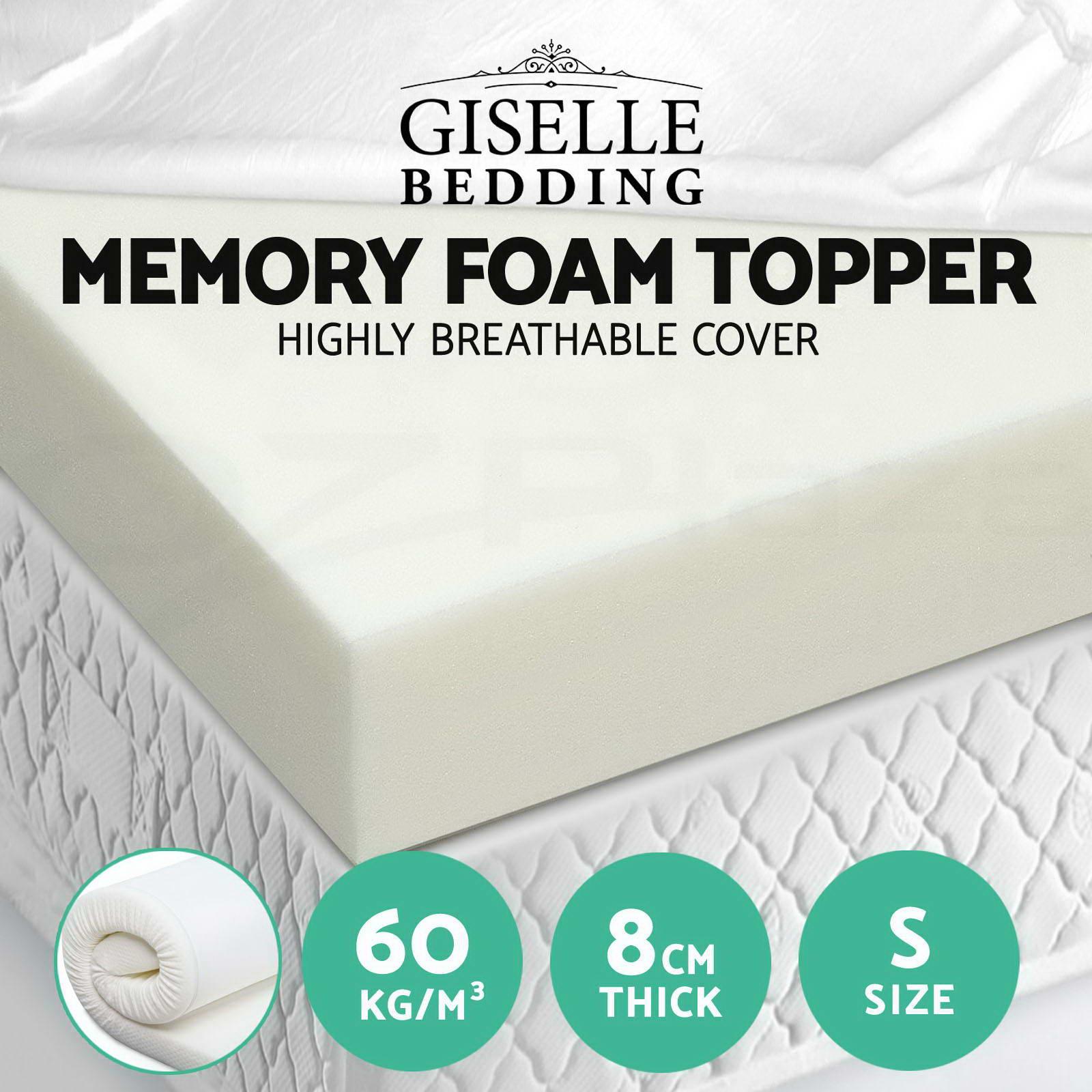 memory foam mattress topper single size 8cm visco elastic. Black Bedroom Furniture Sets. Home Design Ideas