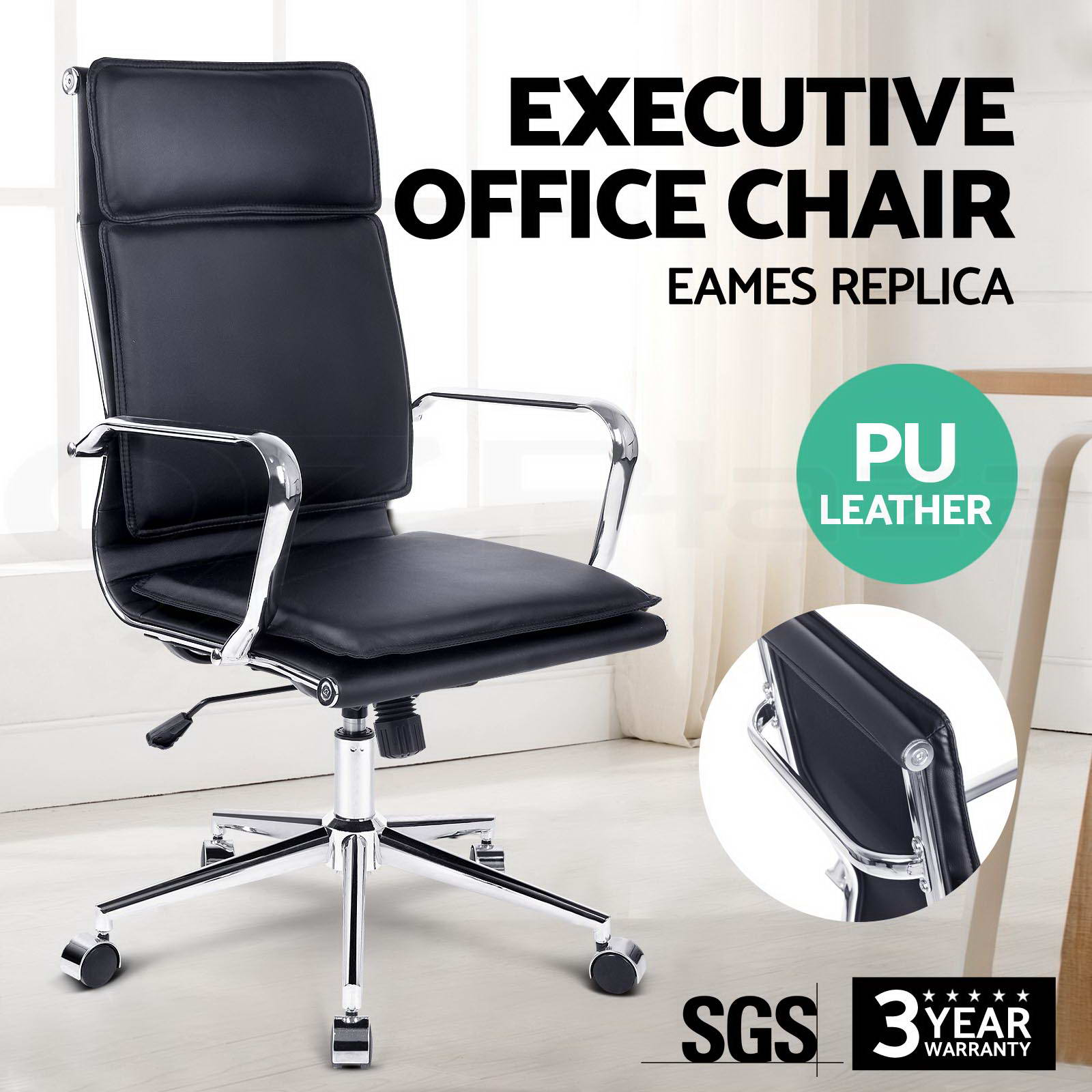 point massage executive office computer chair heated recliner black pu