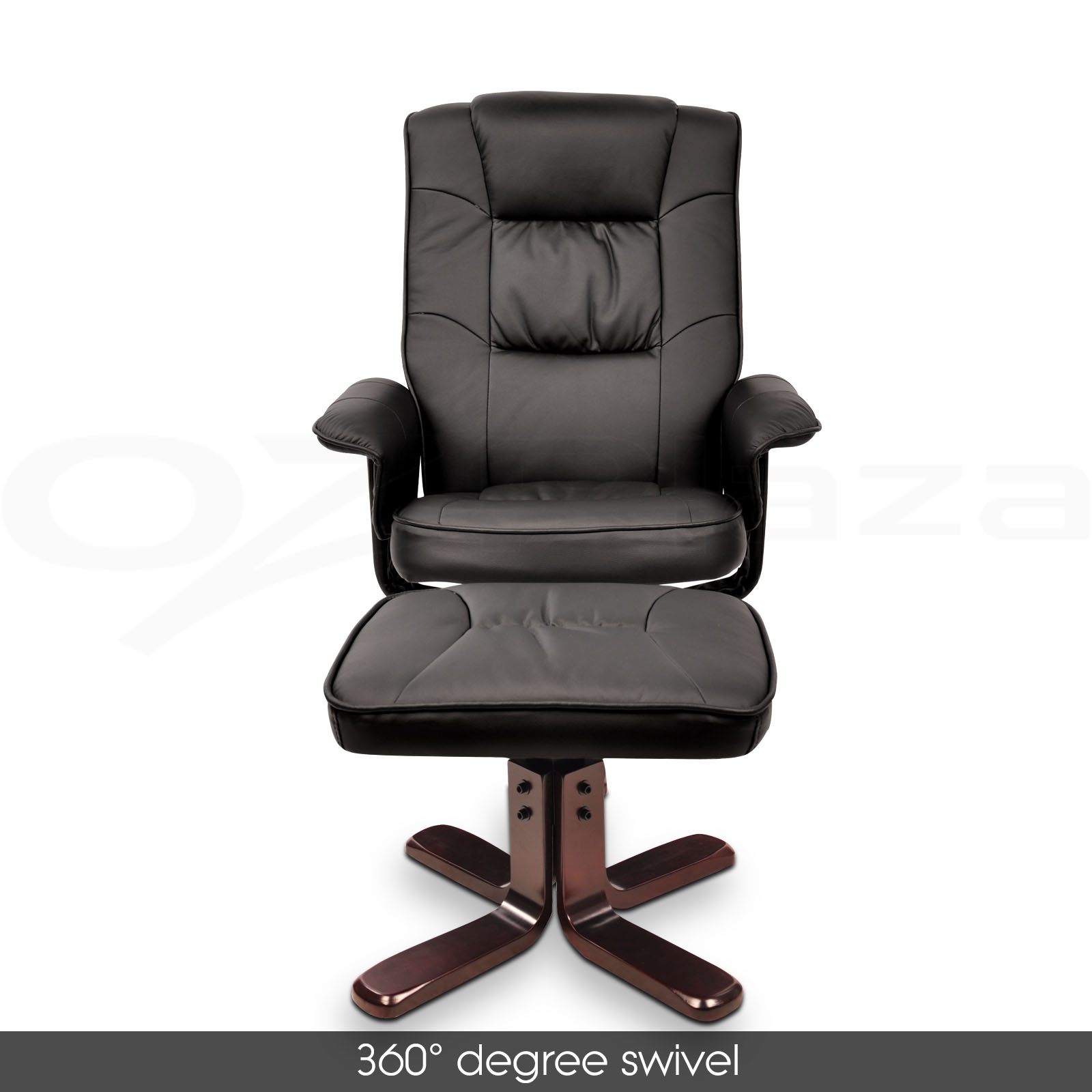 Wood Arm Recliner ~ Pu leather wood arm lounge chair recliner ottoman office