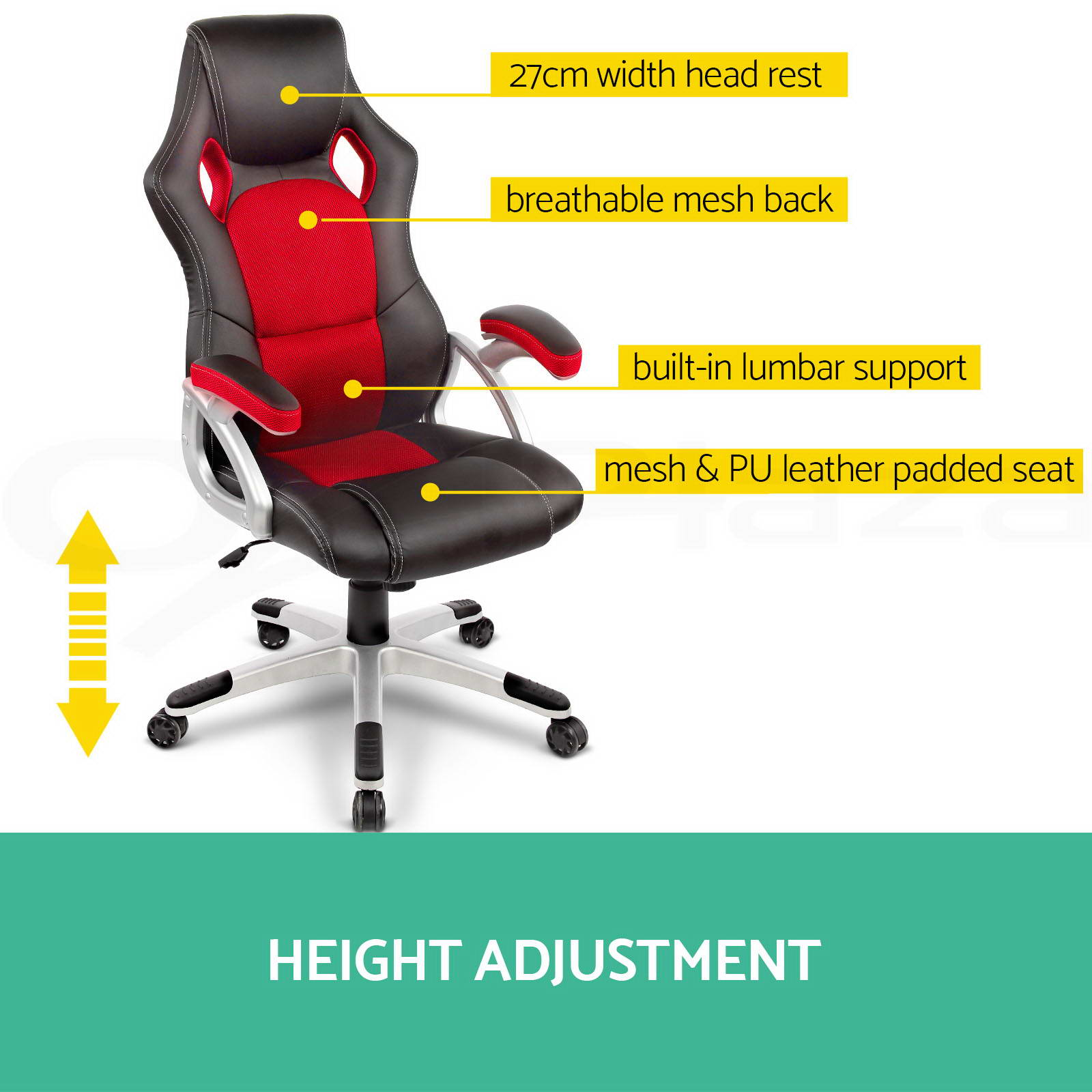 Racing-Office-Chair-Seat-Executive-Computer-Gaming-Deluxe-PU-Leather-Black-Red