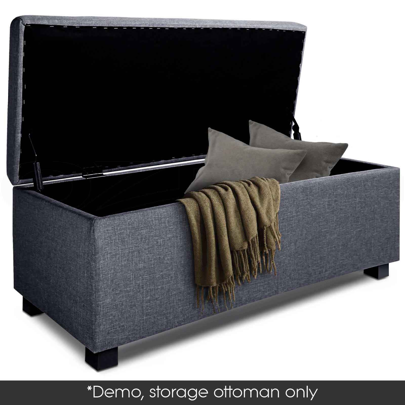 Blanket box storage ottoman pu leather fabric chest toy foot stool bed ebay - Seat at foot of bed ...