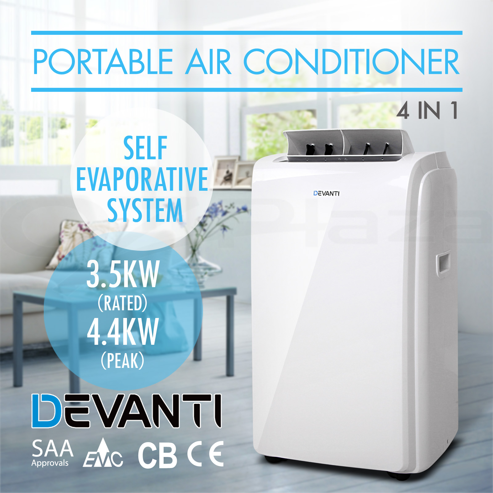 Details about DEVANTI Portable Air Conditioner 4.4KW Peak Cooling Fan  #0B88C0