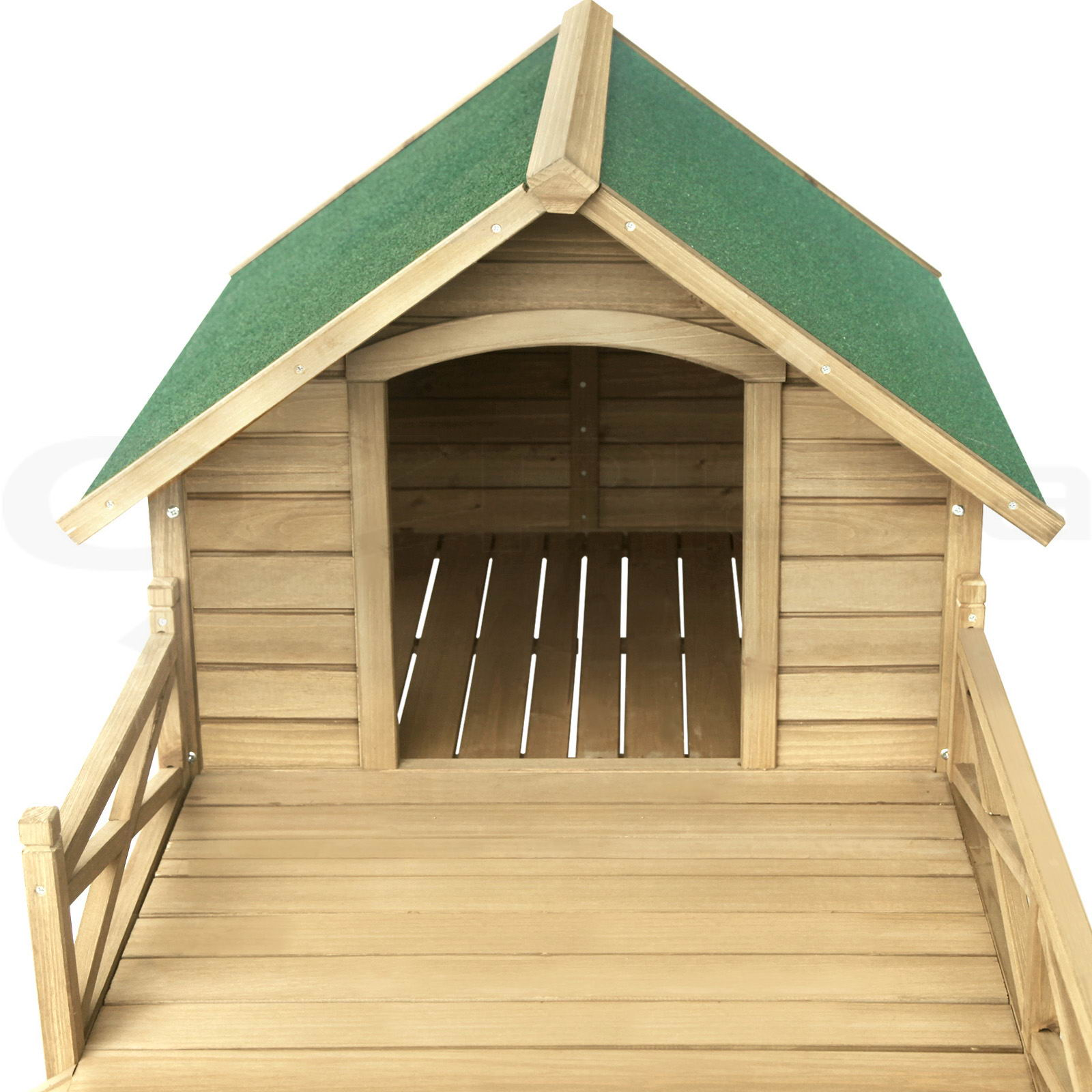 Extra large pet dog kennel house with patio wooden timber for Extra large dog house with porch