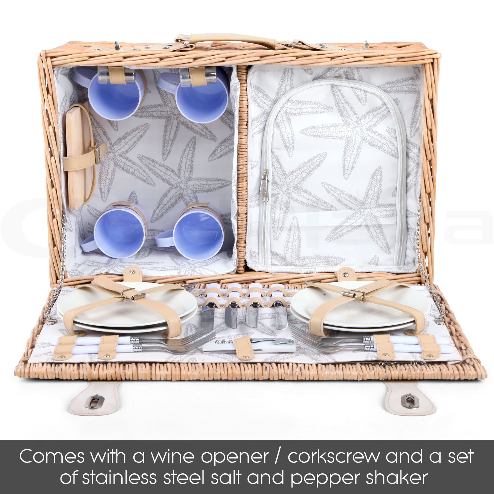 4 Person Insulated Picnic Basket : Deluxe person insulated picnic basket hamper set