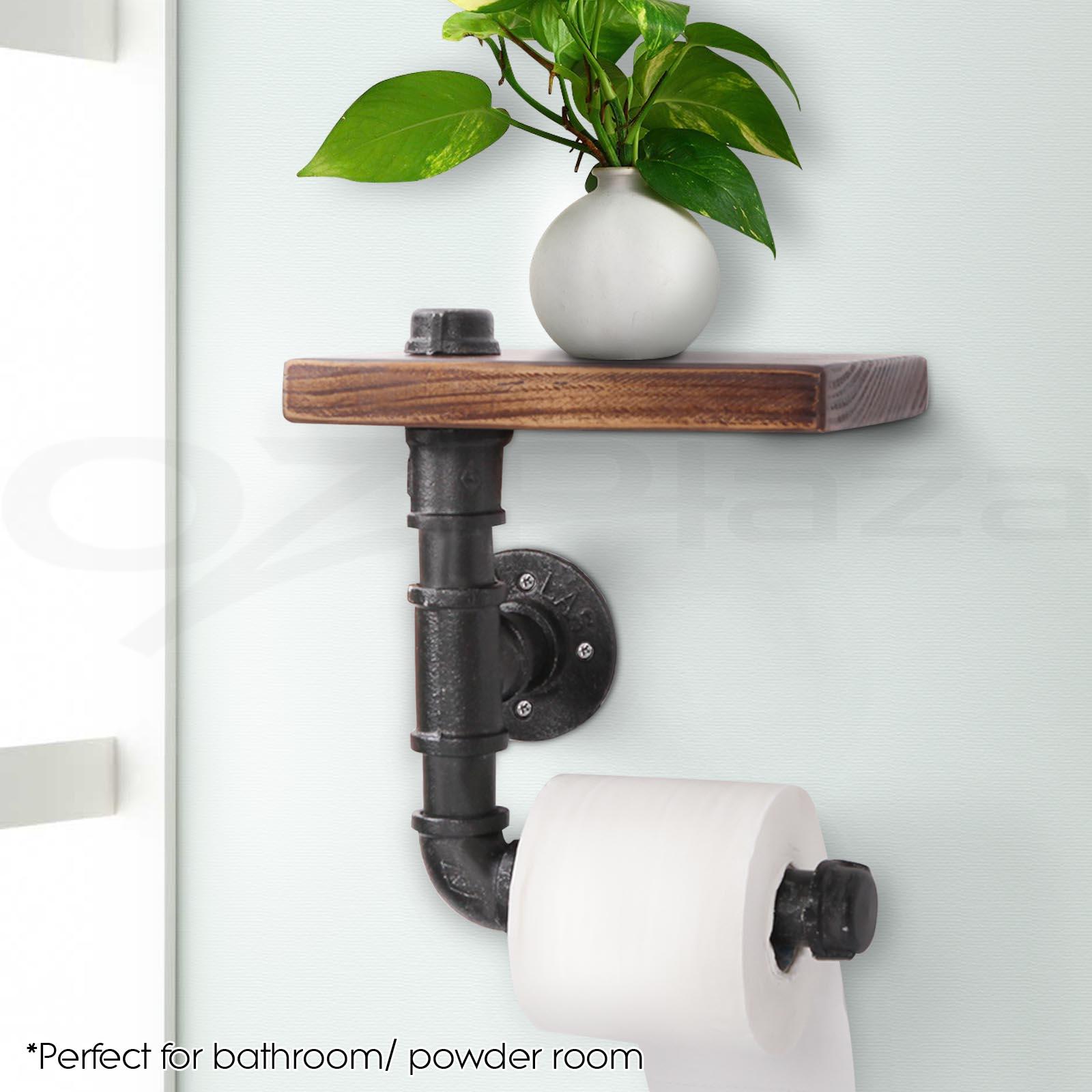 Diy Floating Shelves For Bathroom: Rustic Industrial DIY Bathroom Paper Holder Pipe Vintage