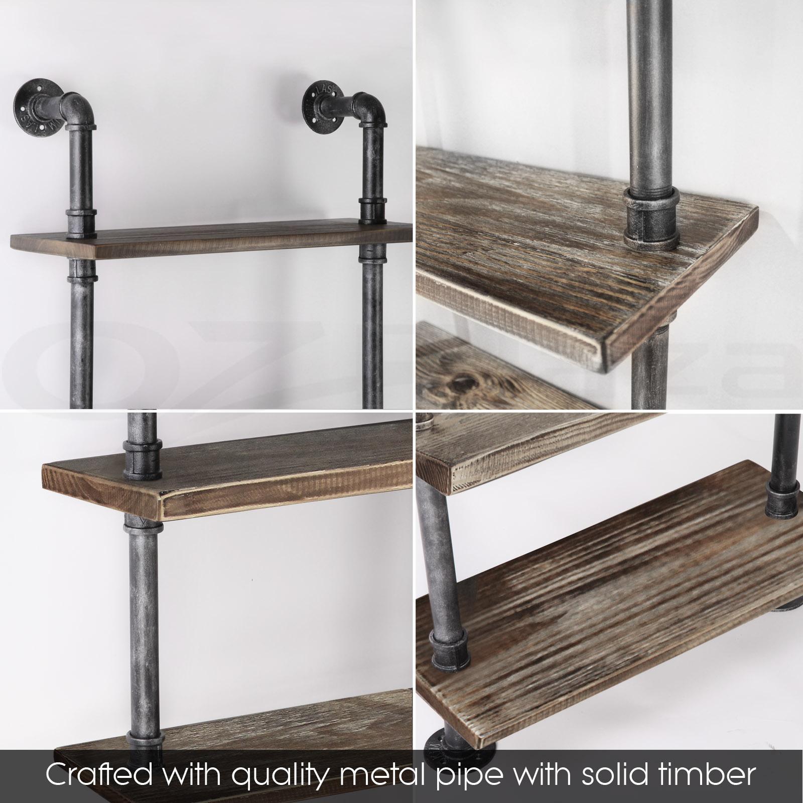 6 level rustic industrial diy pipe ladder tier shelf wooden bookshelf. Black Bedroom Furniture Sets. Home Design Ideas