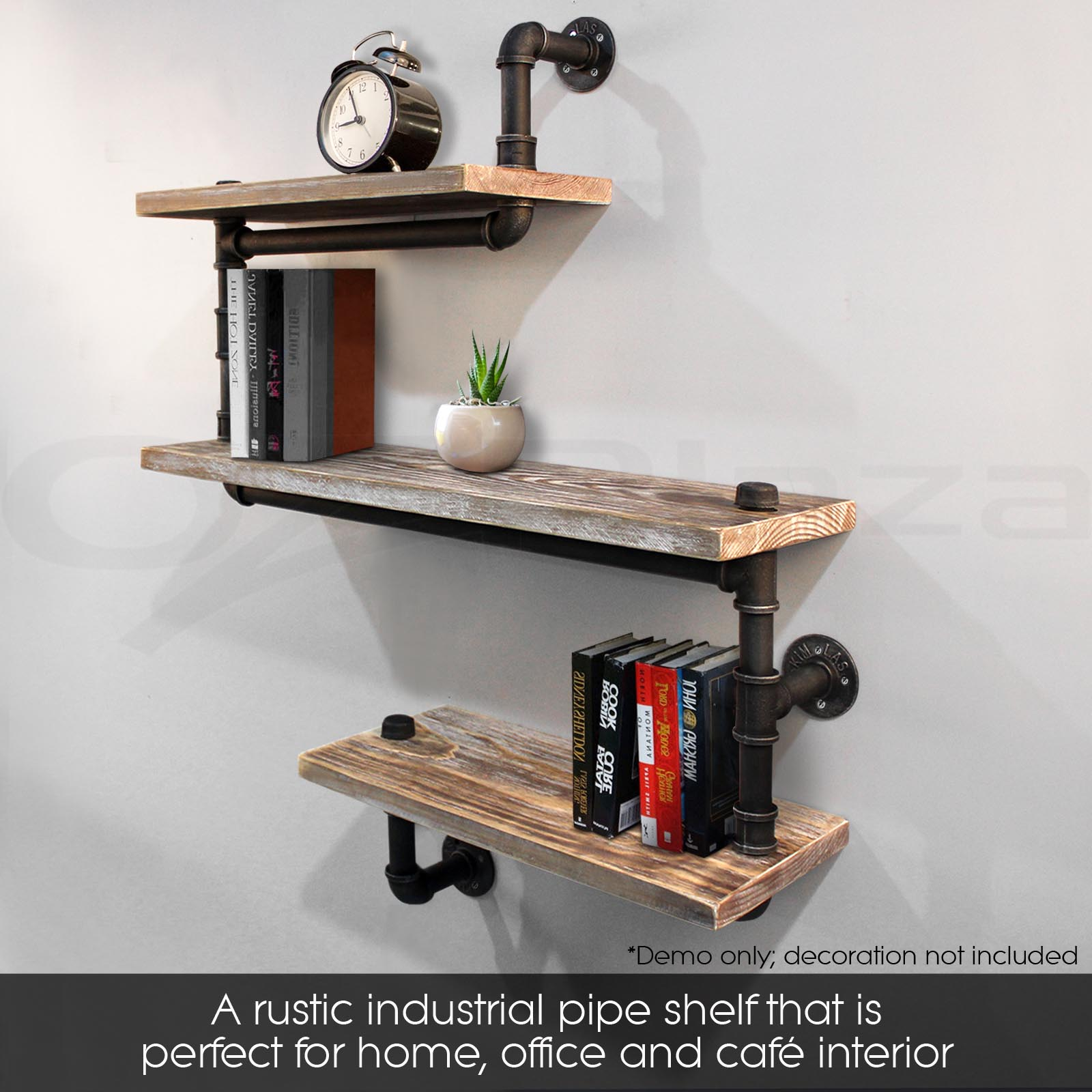 Rustic industrial diy pipe shelf storage vintage wooden for Mountain shelf diy