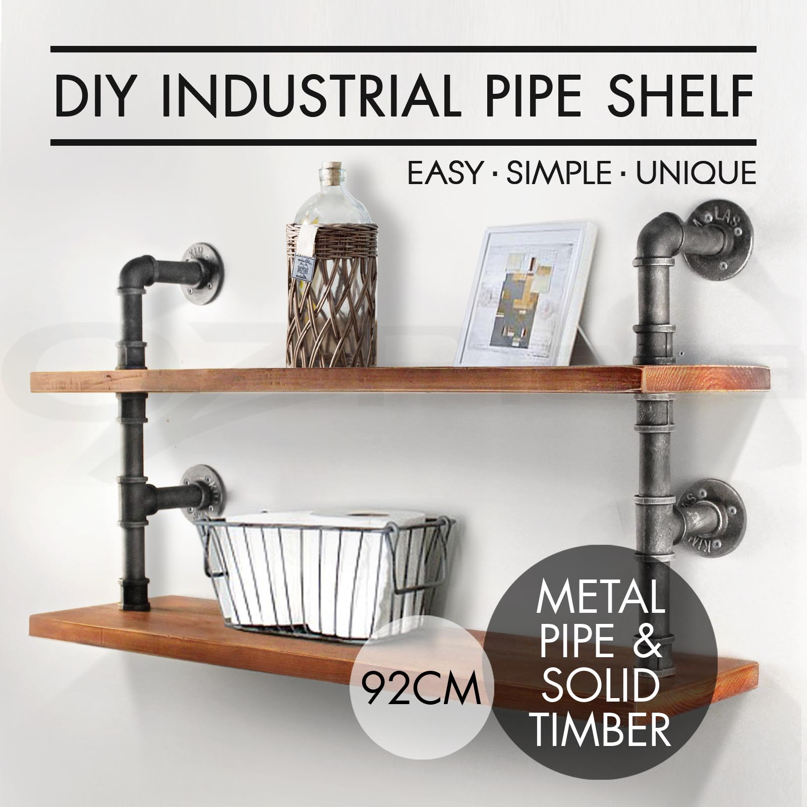 Shabby Chic Home Decor Wholesale Rustic Industrial Diy Pipe Shelf Storage Vintage Wooden