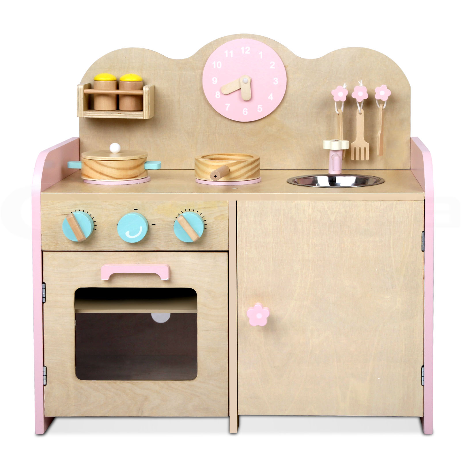 Kids Wooden Pretend Play Kitchen Set Toy Toddlers Market