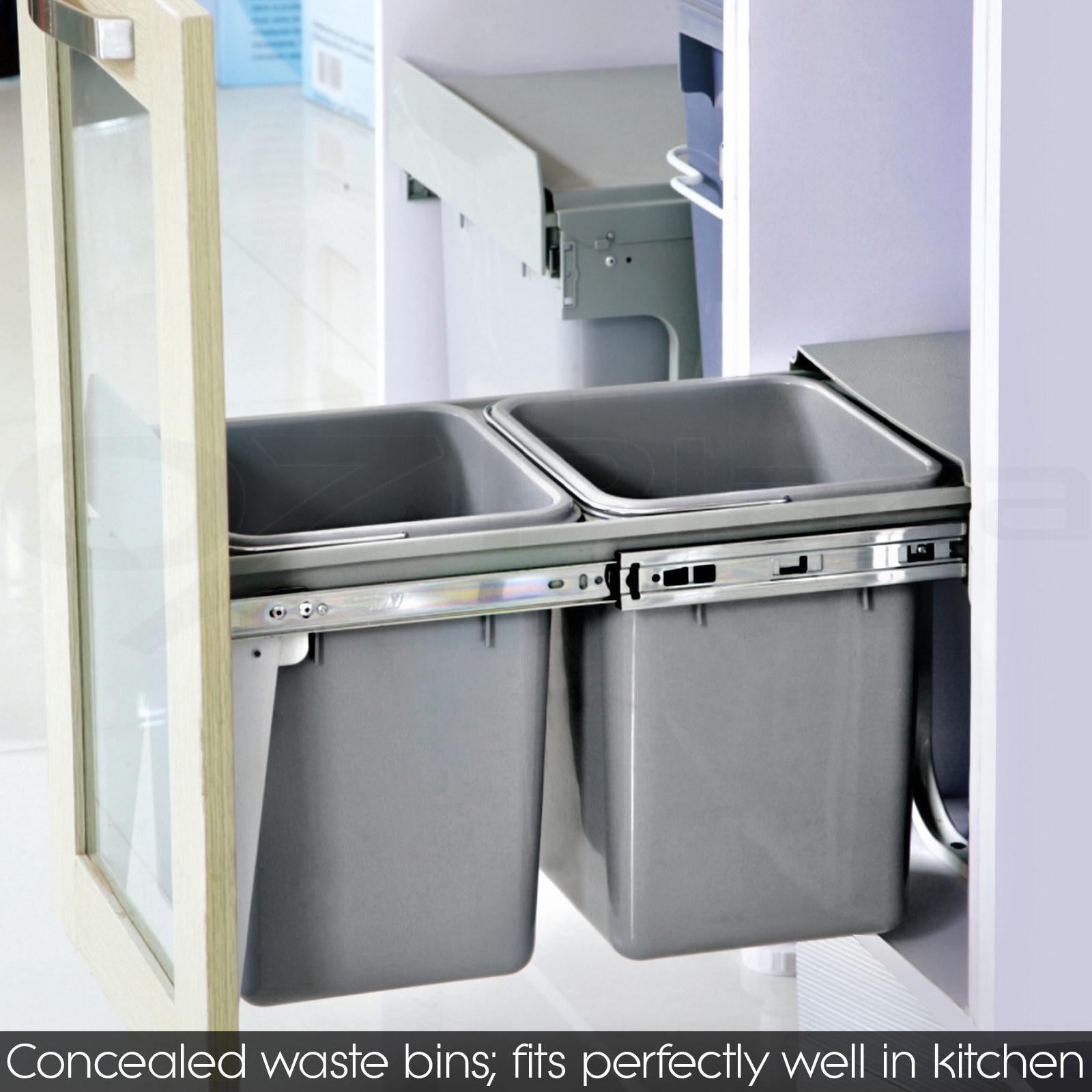 pull out bin kitchen slide out garbage rubbish waste basket twin cabinet 30l 40l ebay. Black Bedroom Furniture Sets. Home Design Ideas