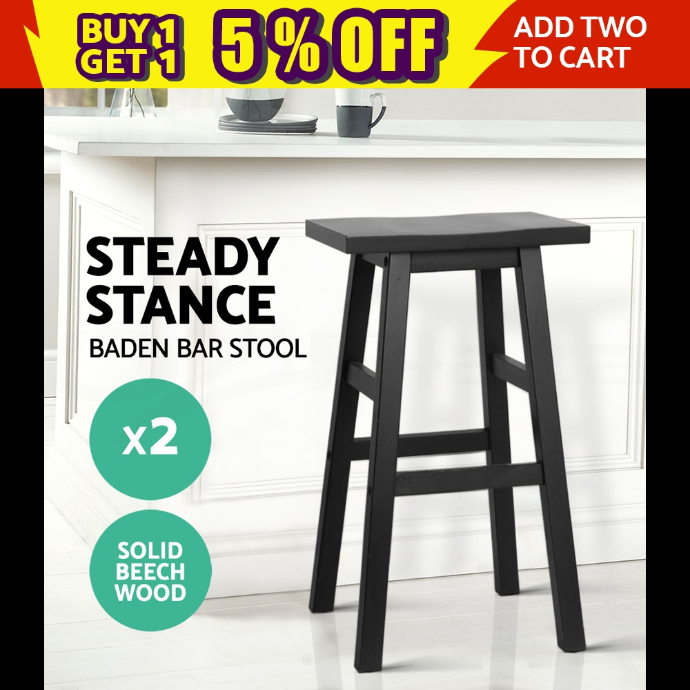 2x BADEN Wooden Bar Stool Dining Barstool Chairs Kitchen Bistro Cafe Black 9350062117118
