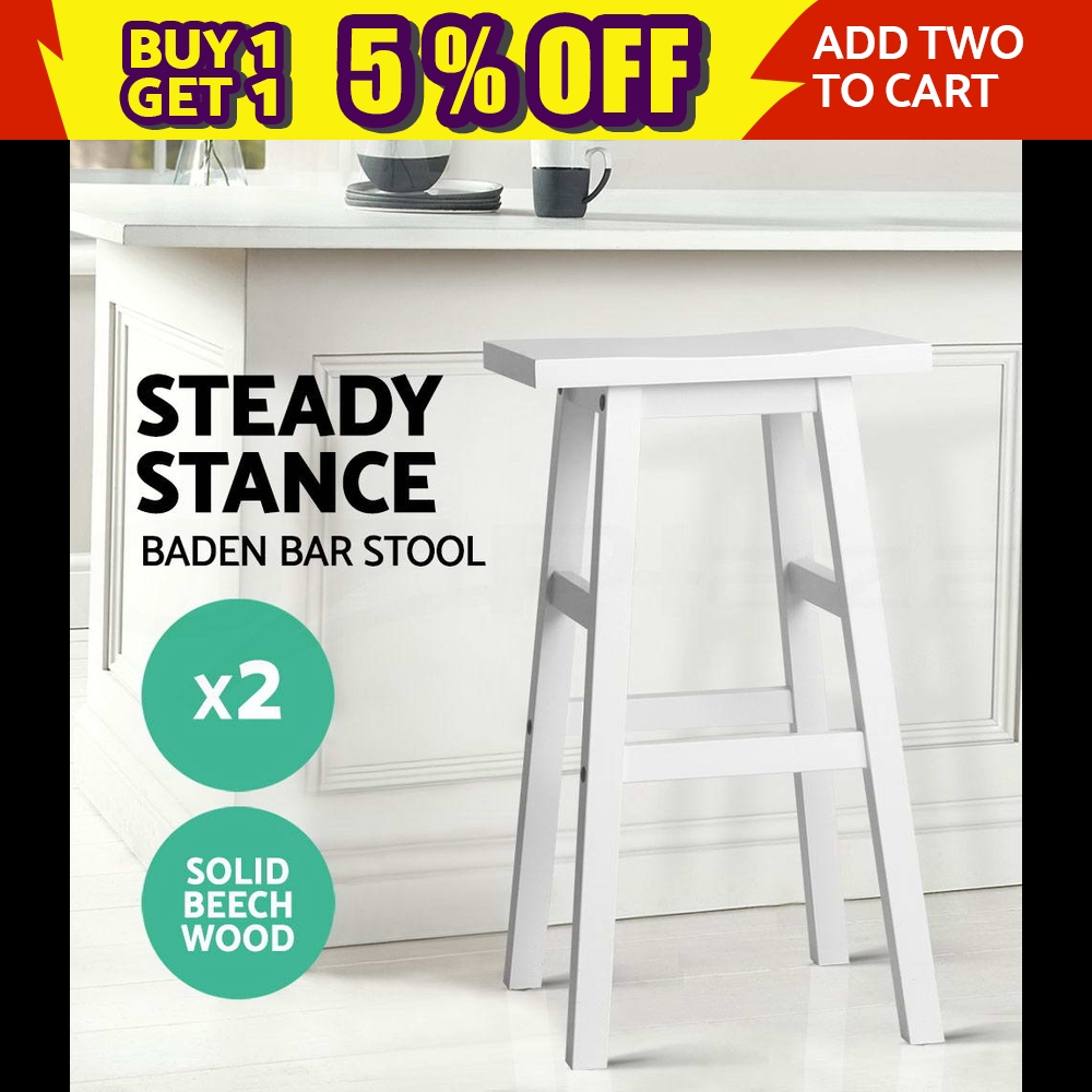 2x BADEN Wooden Bar Stool Dining Barstool Chairs Kitchen Bistro Cafe White